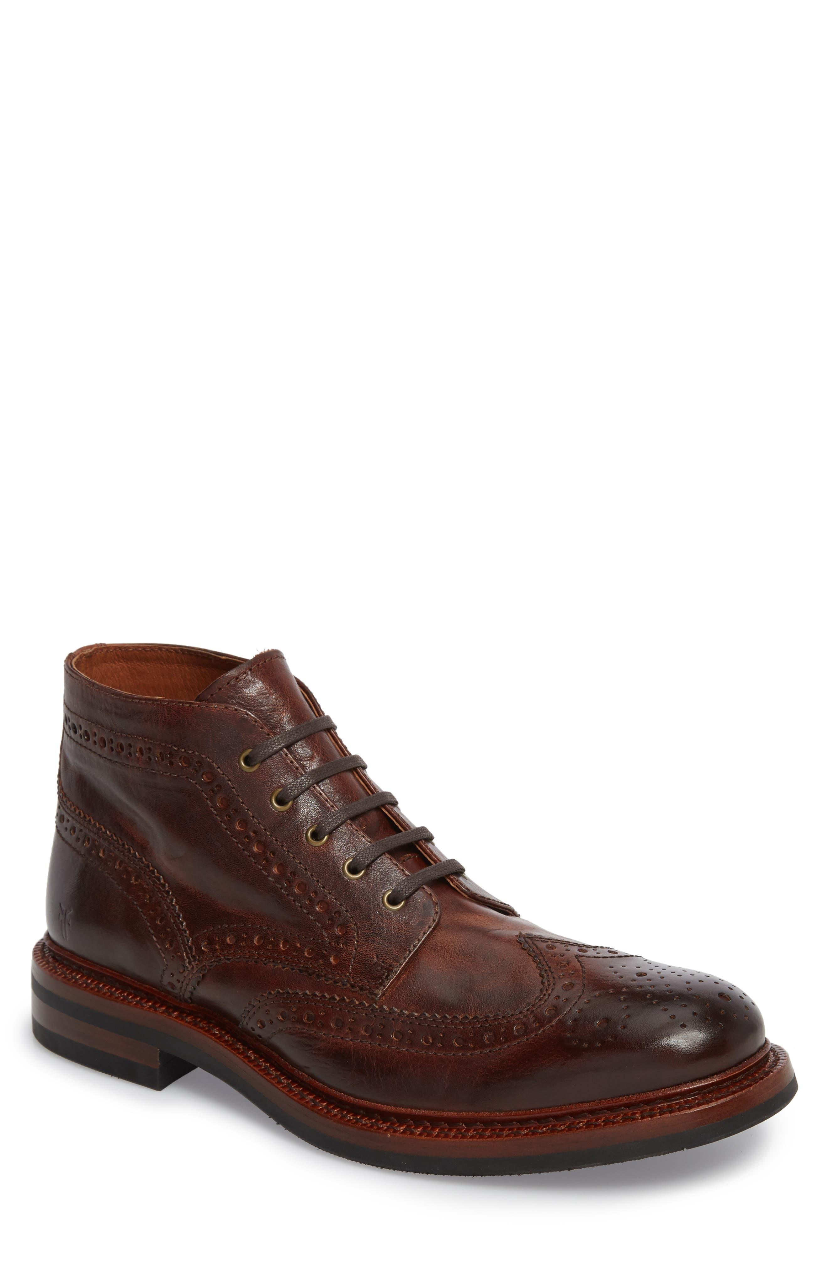 Graham Wingtip Boot,                             Main thumbnail 1, color,                             Cognac Leather
