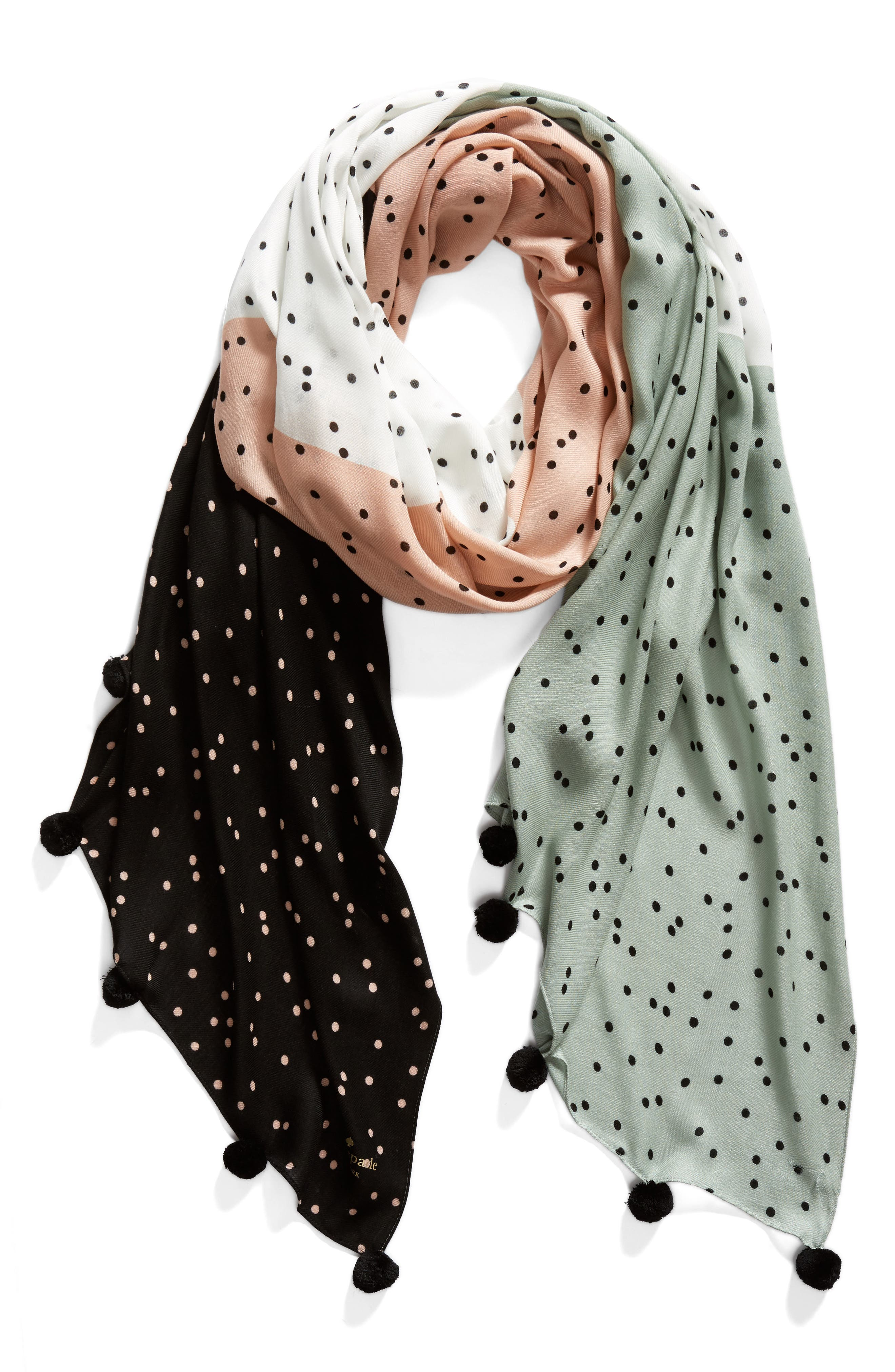 scatter pom scarf,                             Alternate thumbnail 3, color,                             Black
