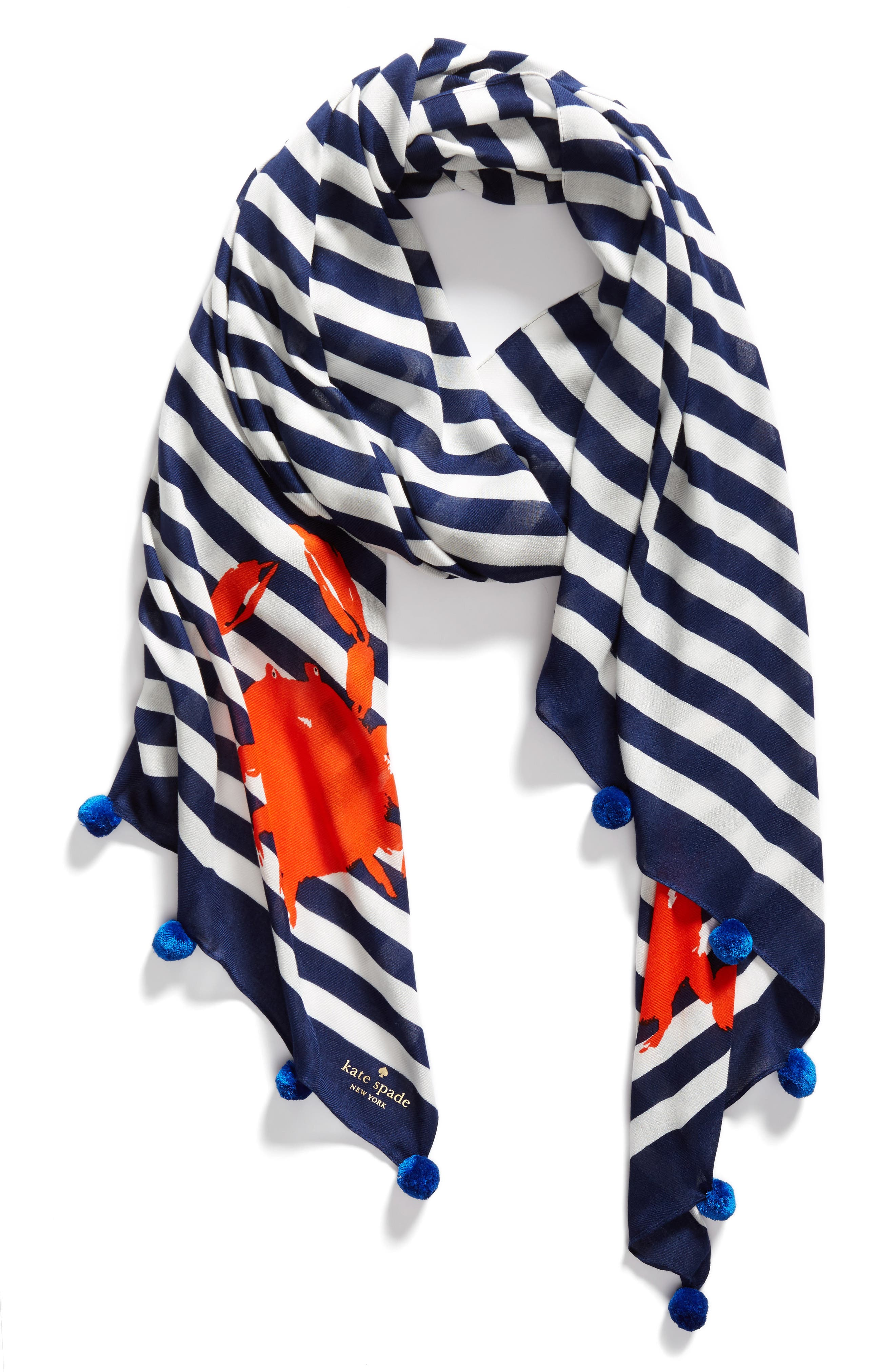 hanging crab stripe scarf,                             Alternate thumbnail 3, color,                             French Navy