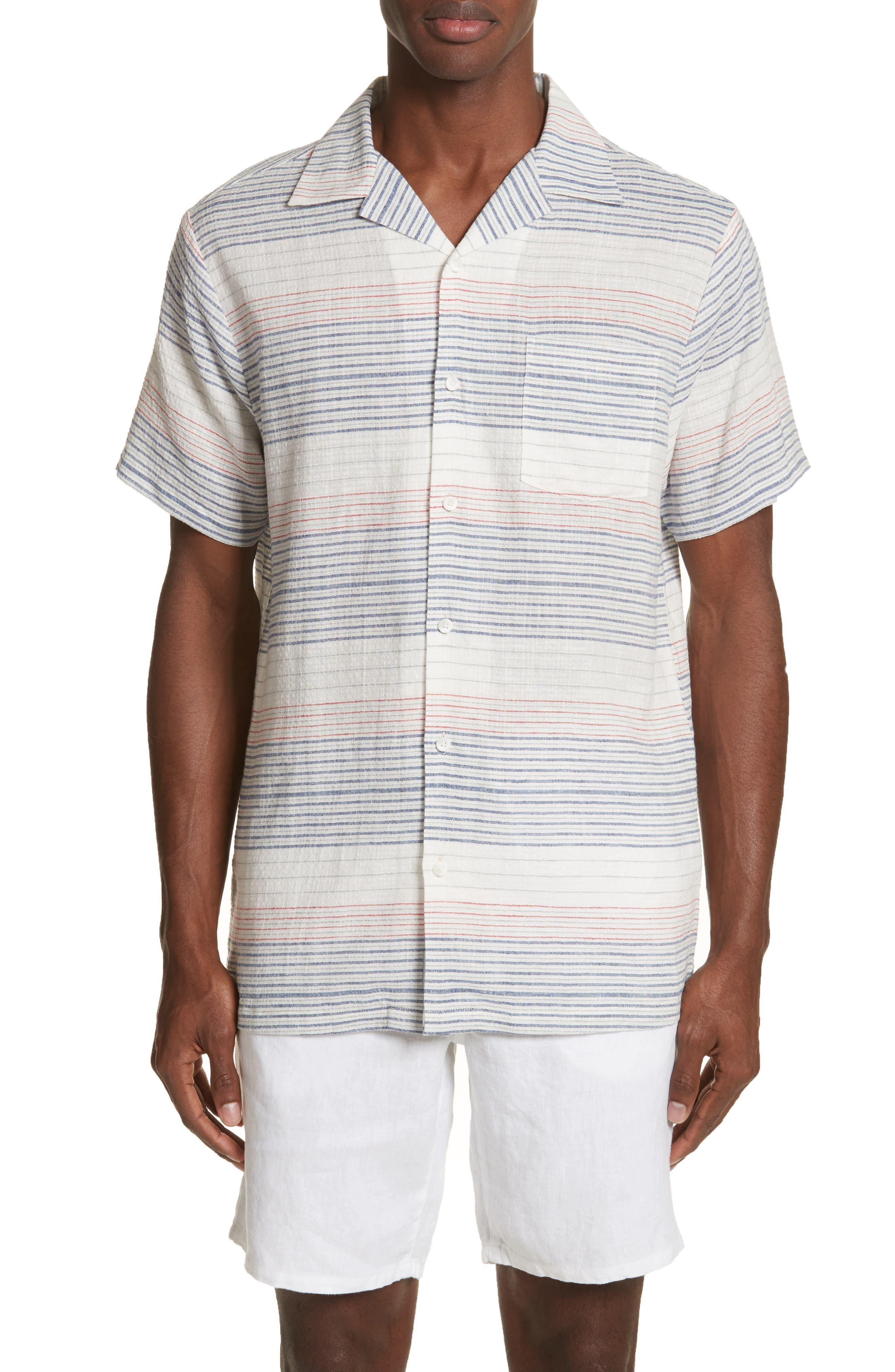 ONIA Americana Stripe Woven Camp Shirt