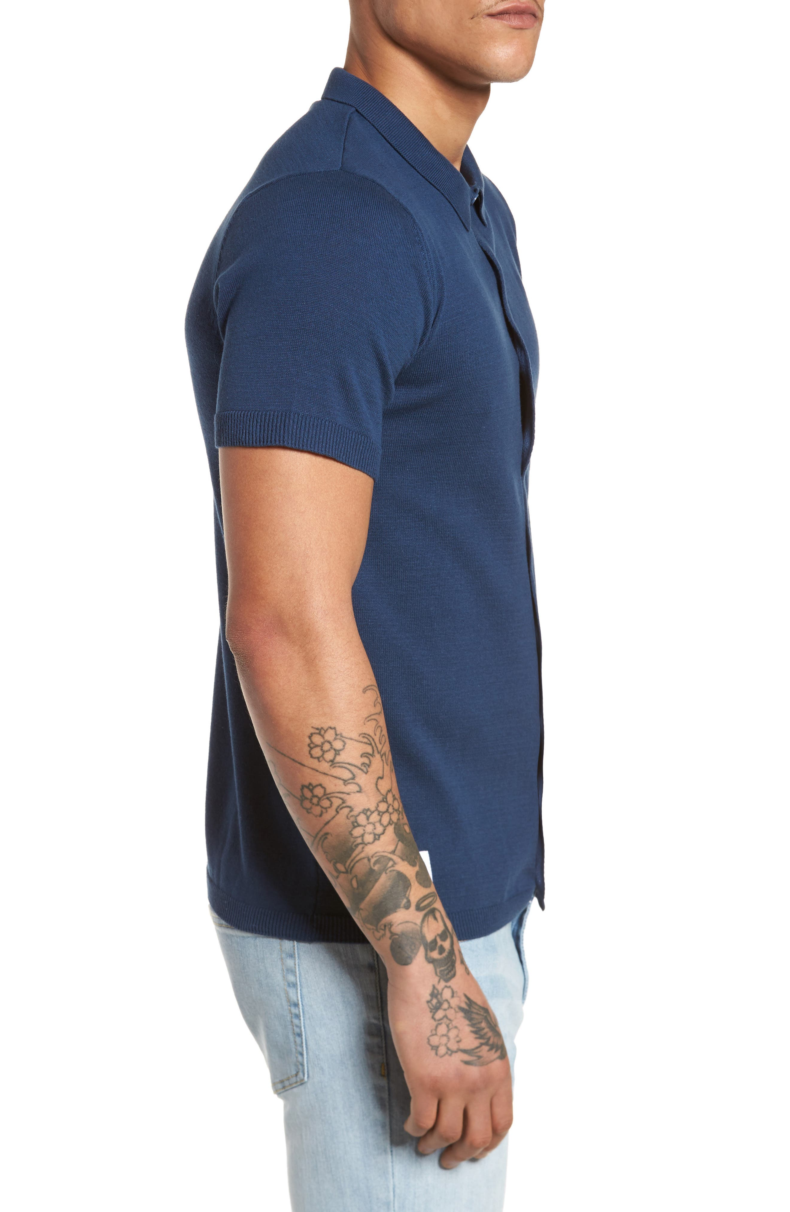 Abyss Knit Shirt,                             Alternate thumbnail 3, color,                             Navy