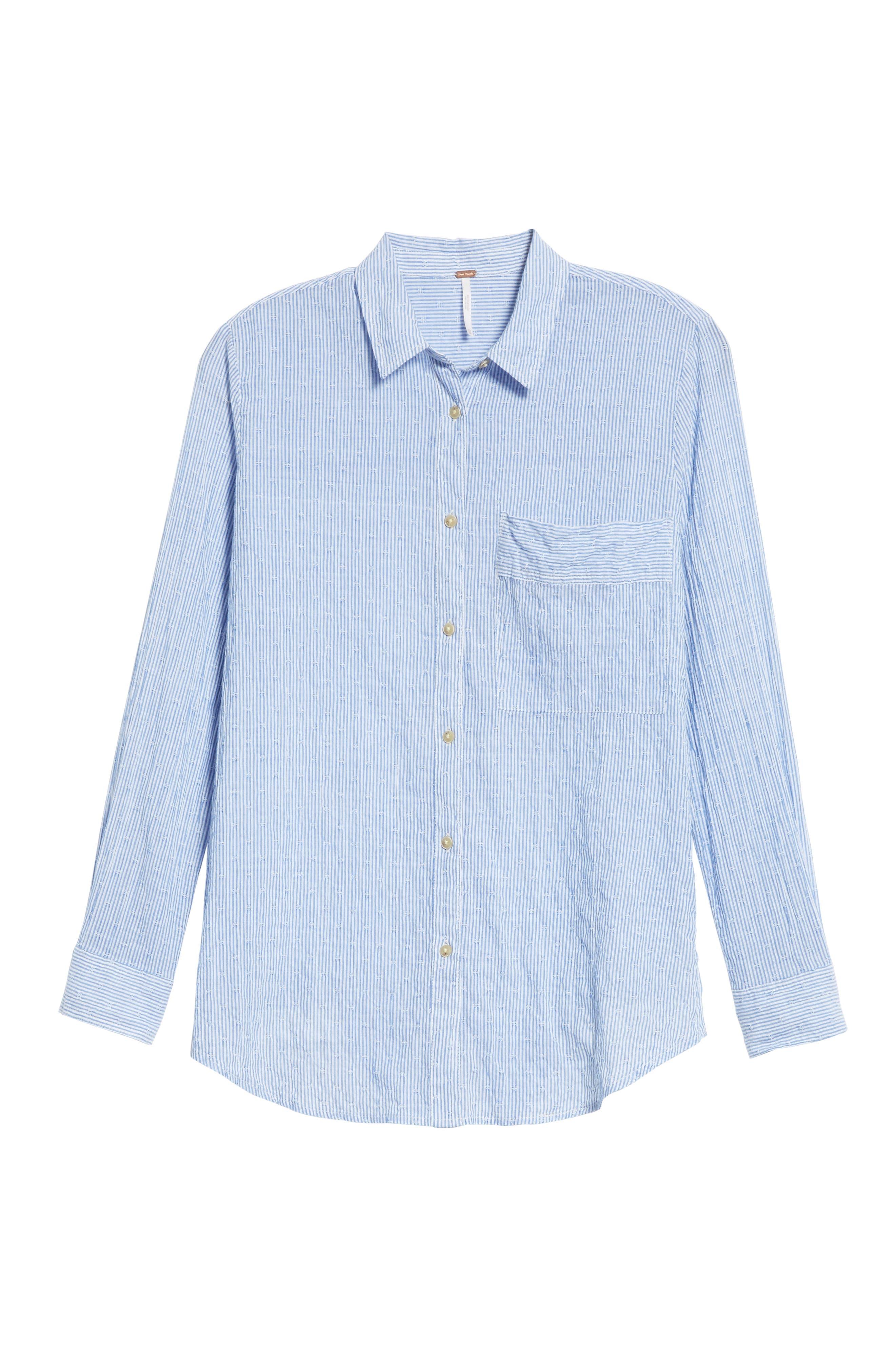 No Limits Stripe Stretch Cotton Shirt,                             Alternate thumbnail 6, color,                             Blue