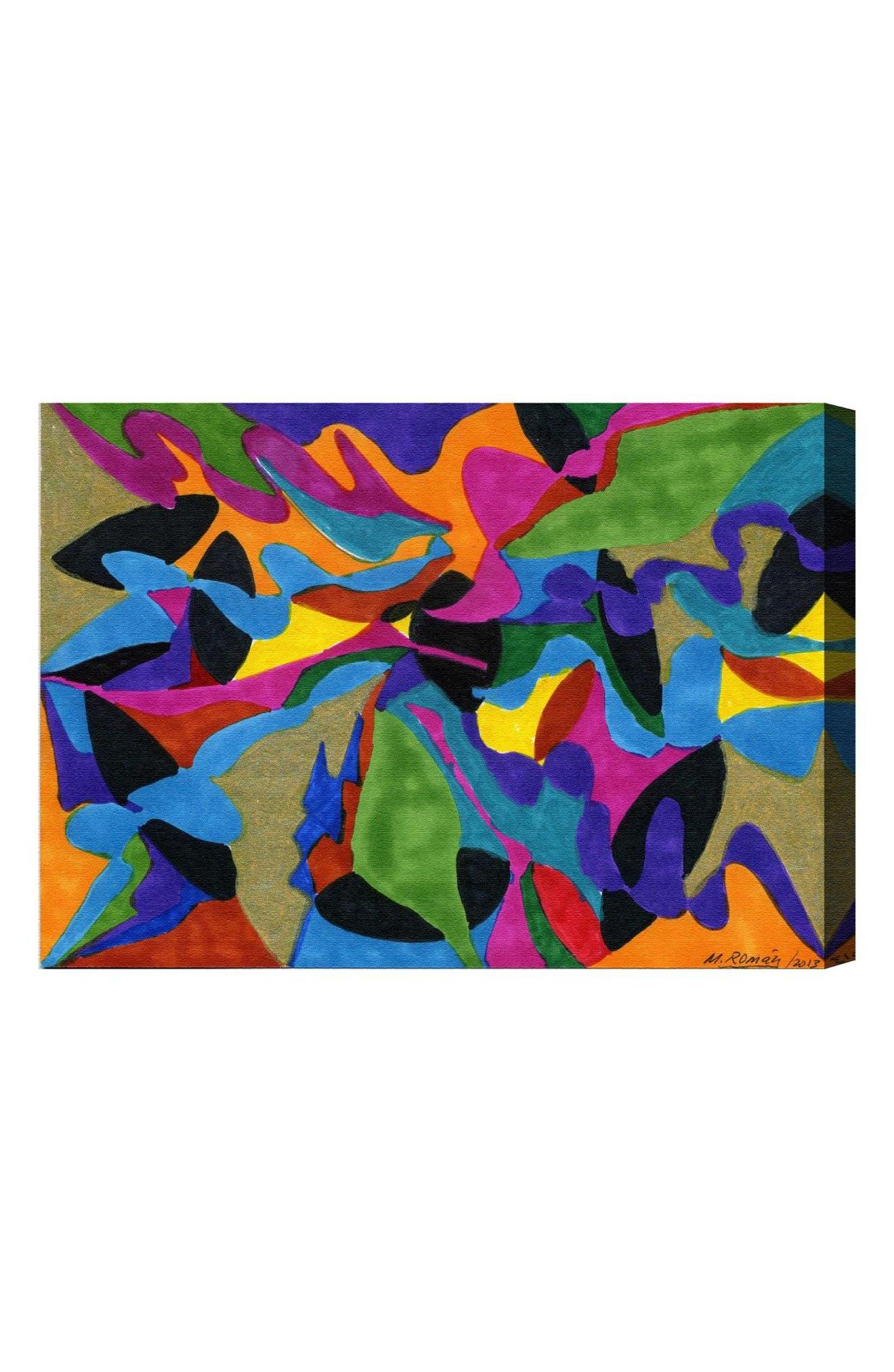 Winding Rivers Canvas Wall Art,                             Main thumbnail 1, color,                             Black