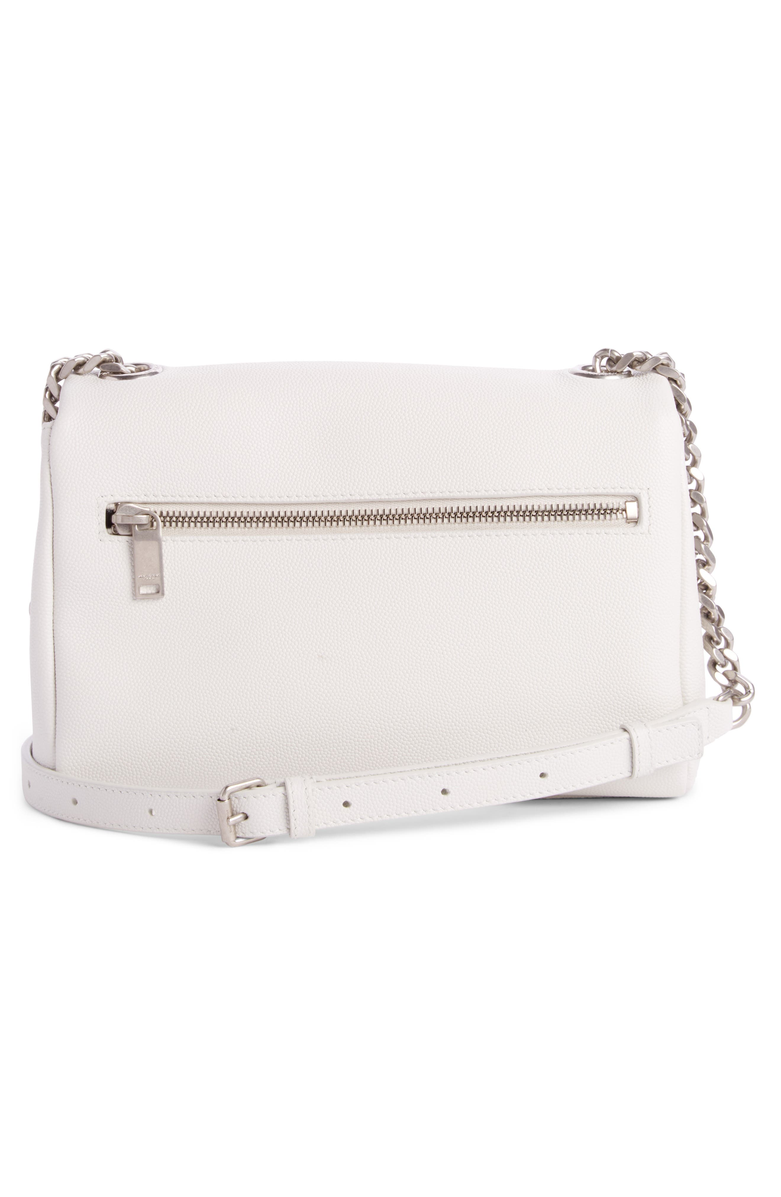 West Hollywood Calfskin Leather Messenger Bag,                             Alternate thumbnail 2, color,                             Pearl White