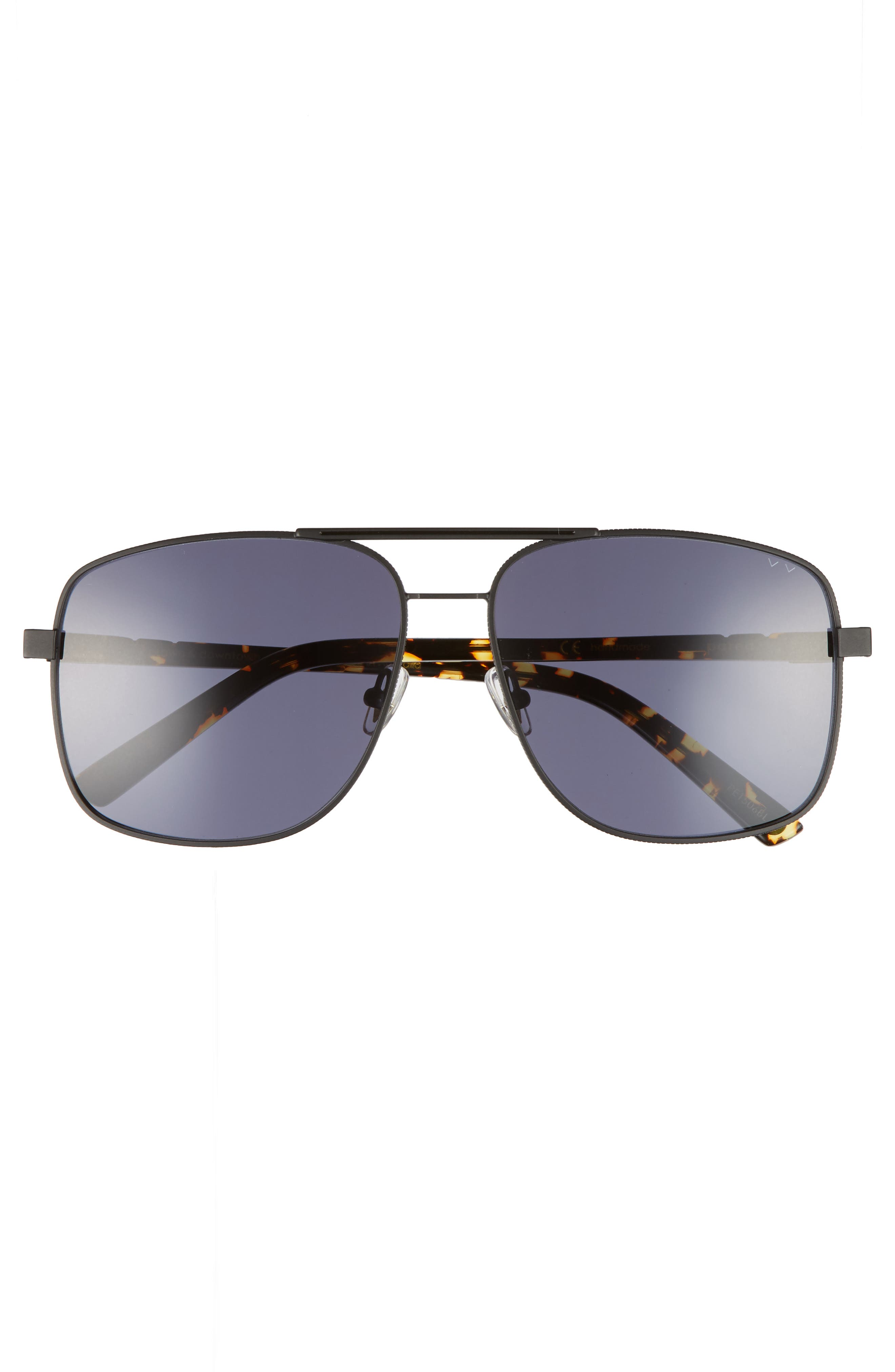 Uptown & Downtown 58mm Aviator Sunglasses,                             Alternate thumbnail 3, color,                             Matte Black Grey
