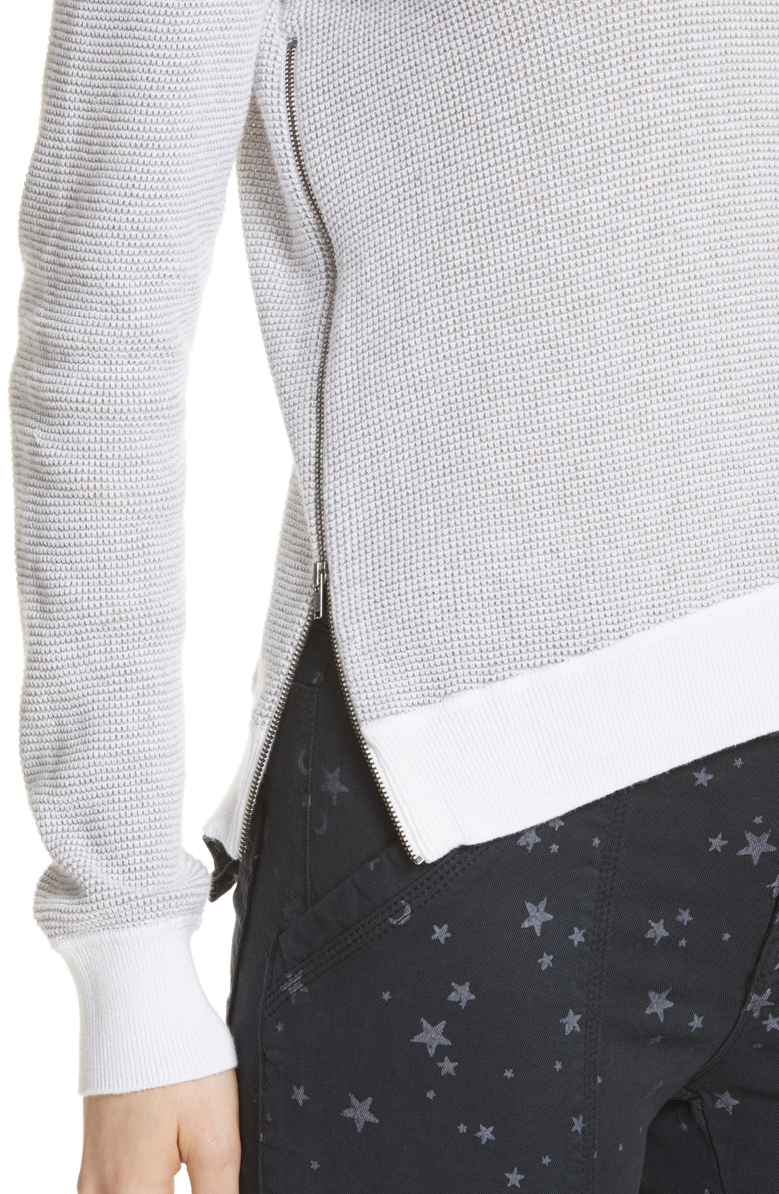 Laurana Cotton & Cashmere Sweater,                             Alternate thumbnail 4, color,                             Porcelain/ Heather Grey