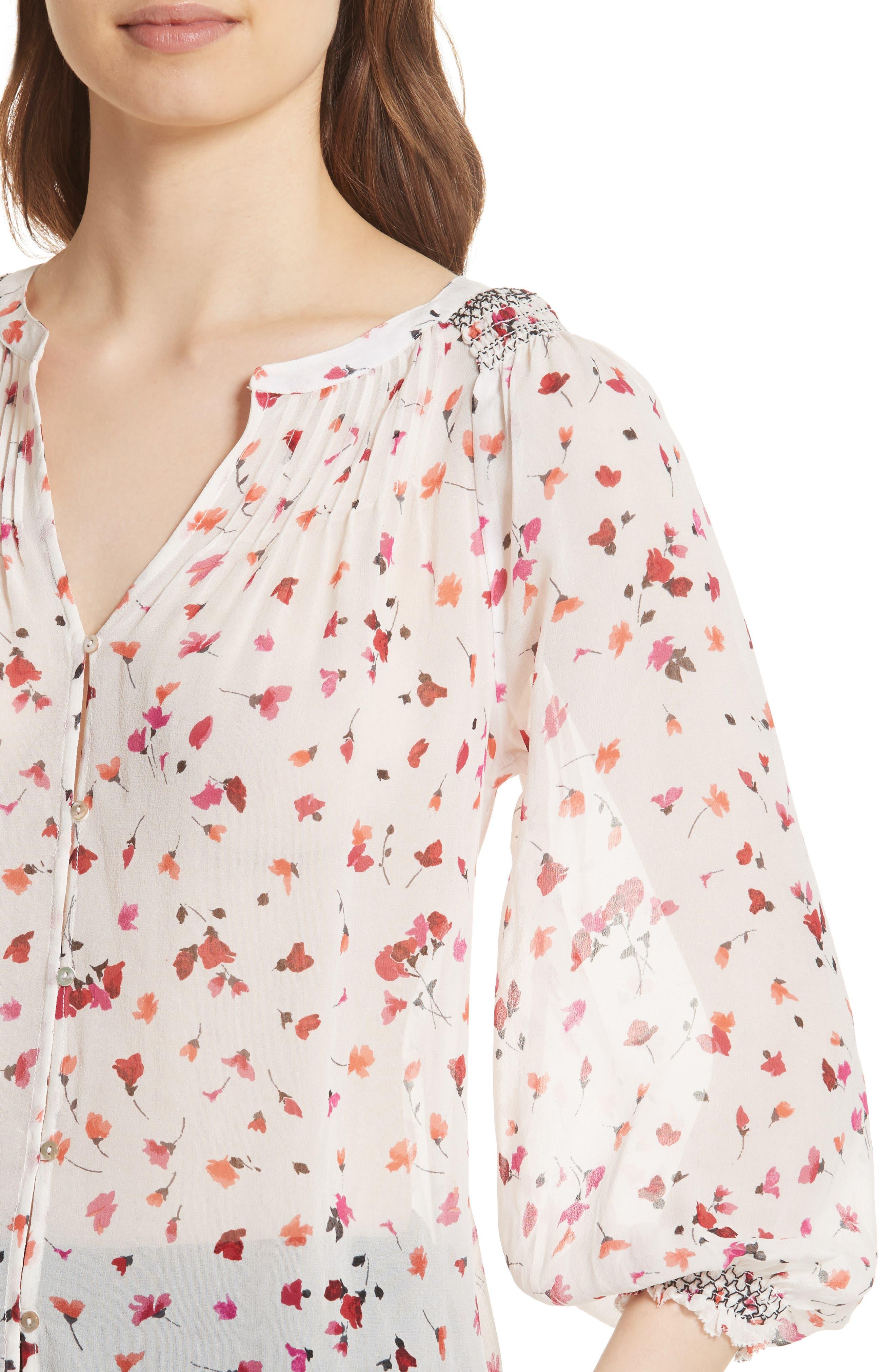 Gontilda Floral Silk Blouse,                             Alternate thumbnail 4, color,                             Porcelain