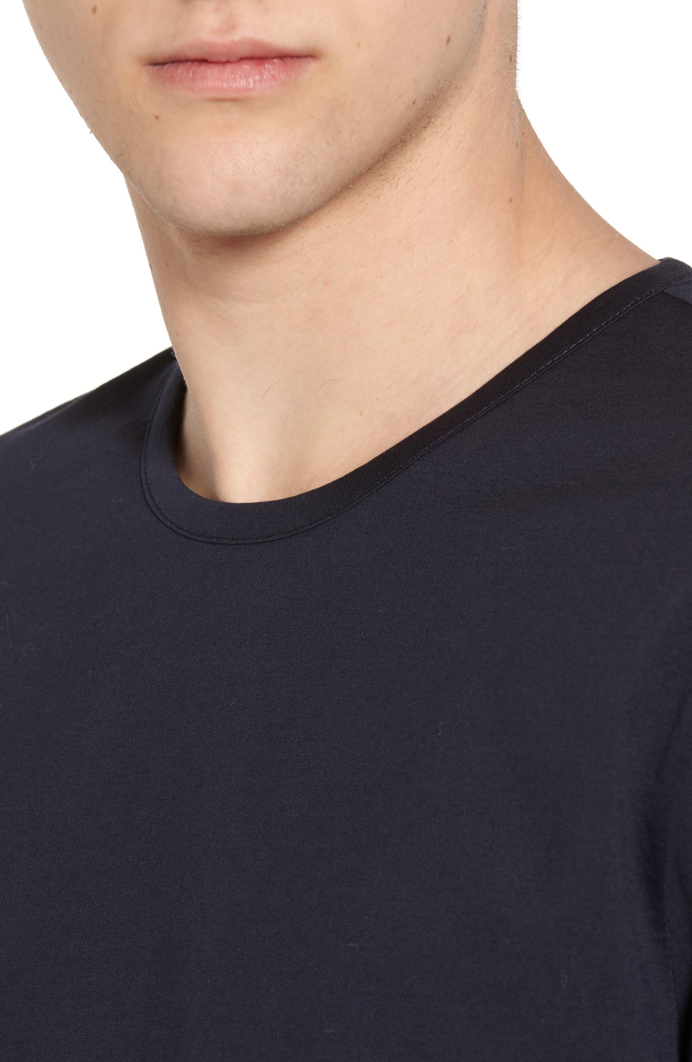 Mercerized Cotton Crewneck Long Sleeve T-Shirt,                             Alternate thumbnail 4, color,                             Navy Night