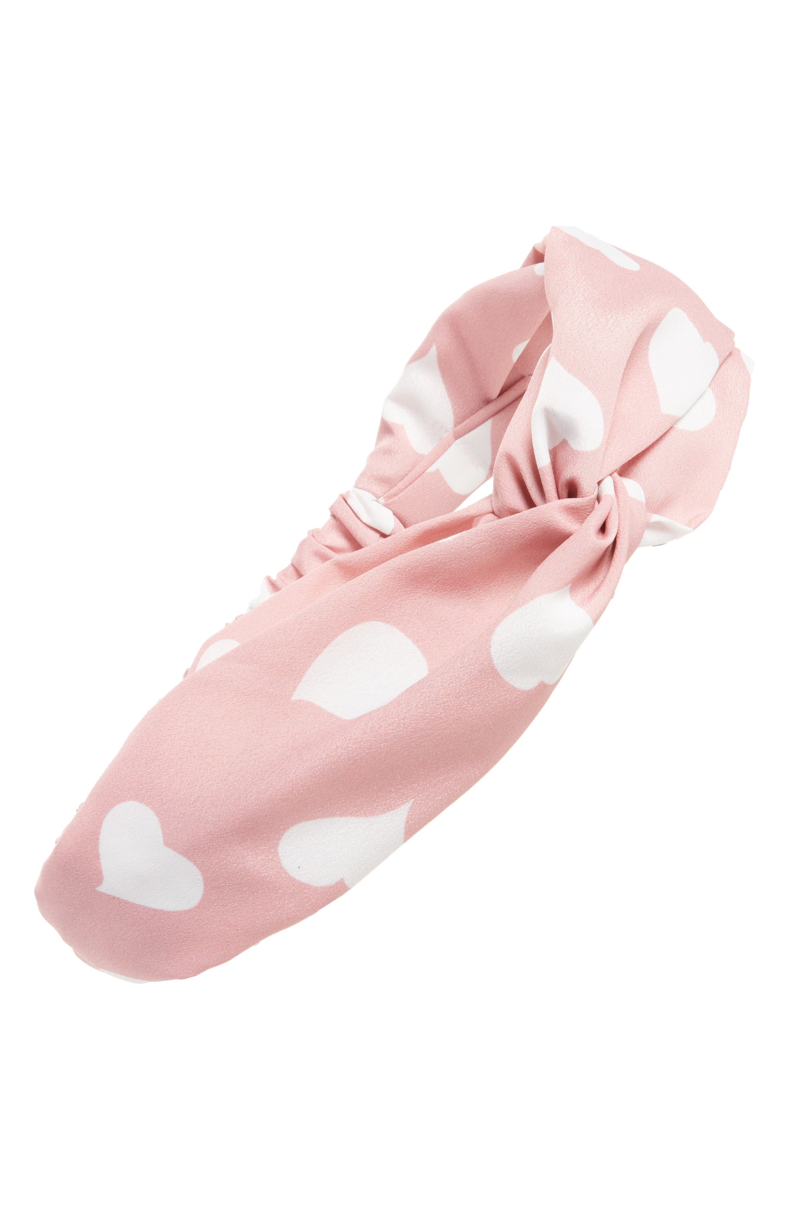 Heart Dots Twist Head Wrap,                         Main,                         color, Pink/ White