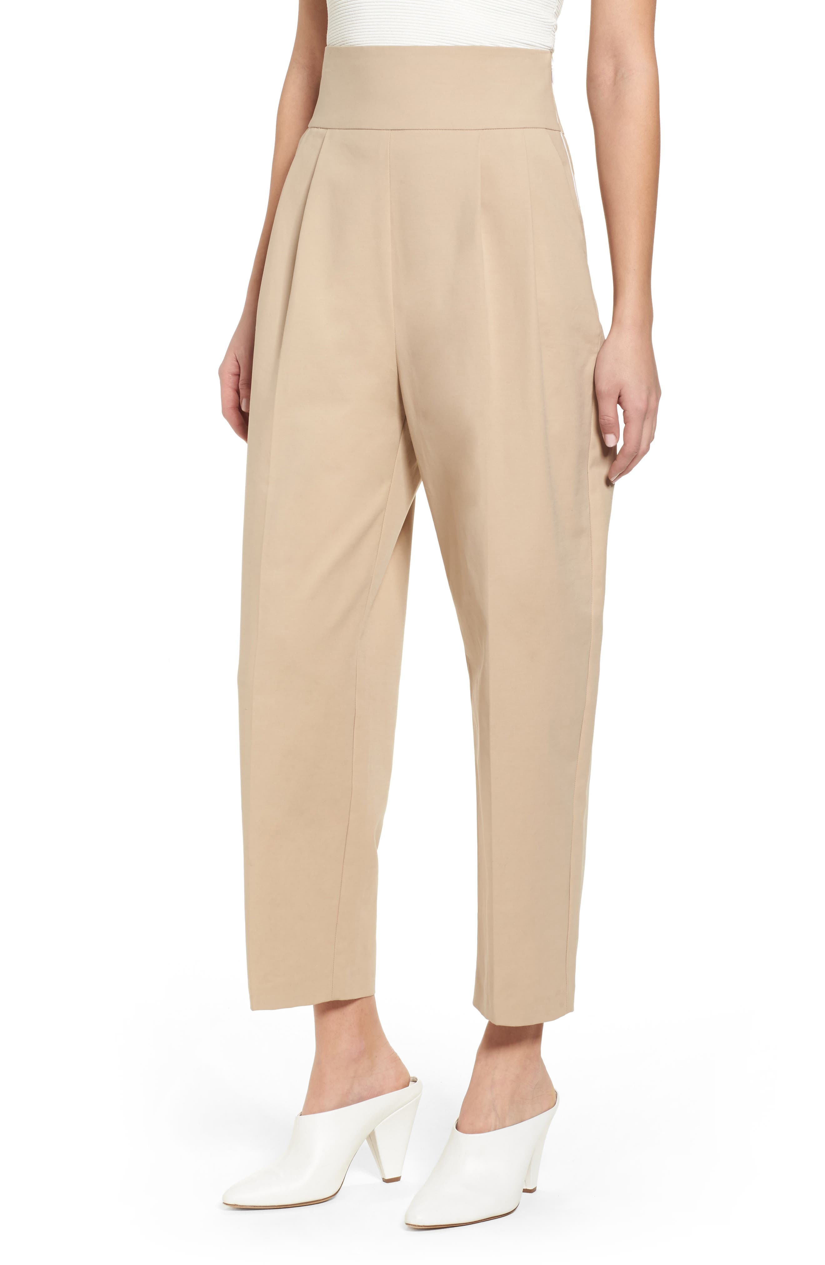 Lace Back Trousers,                         Main,                         color, Camel