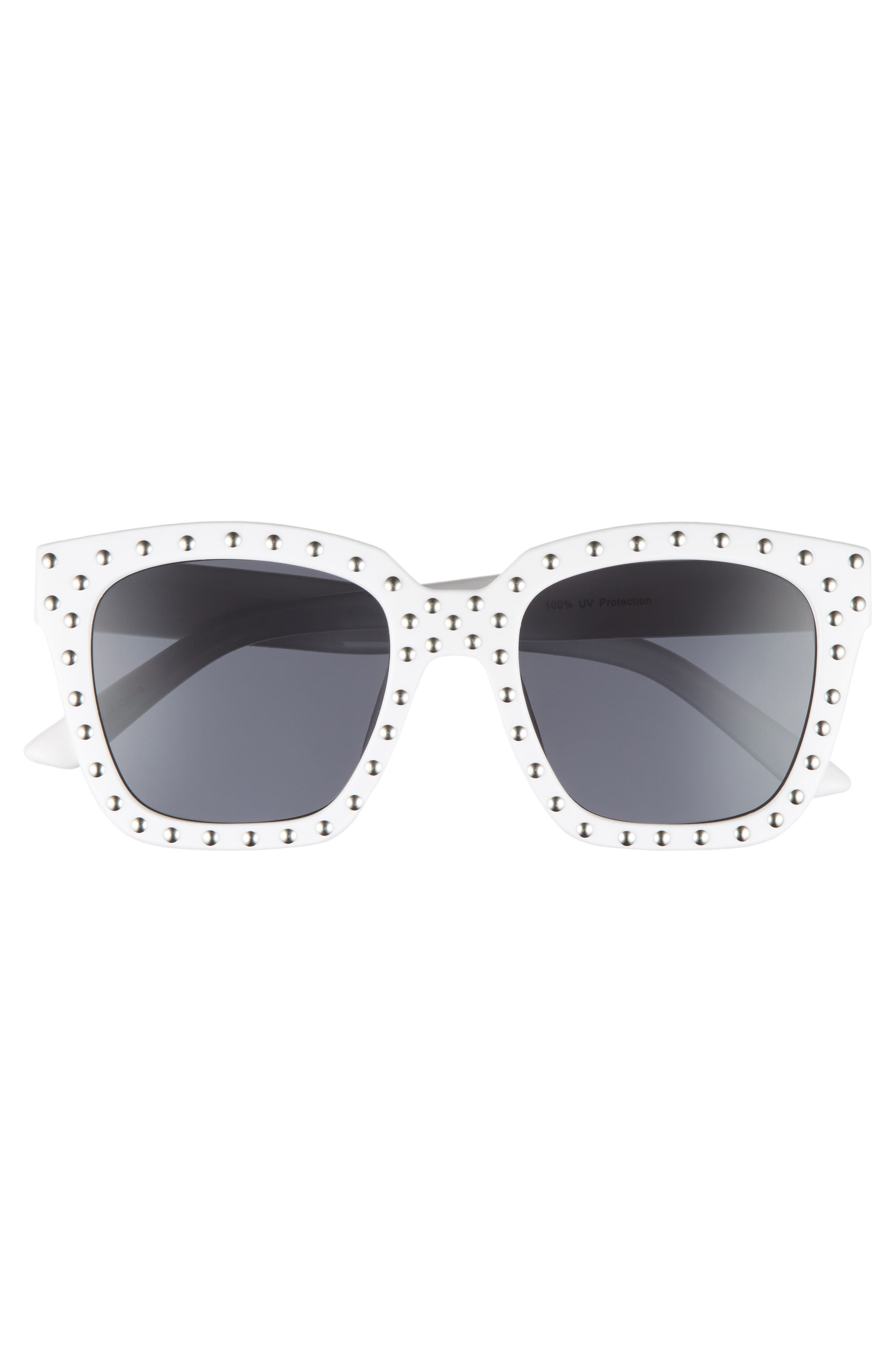 Studded Square Sunglasses,                             Alternate thumbnail 3, color,                             White/ Silver