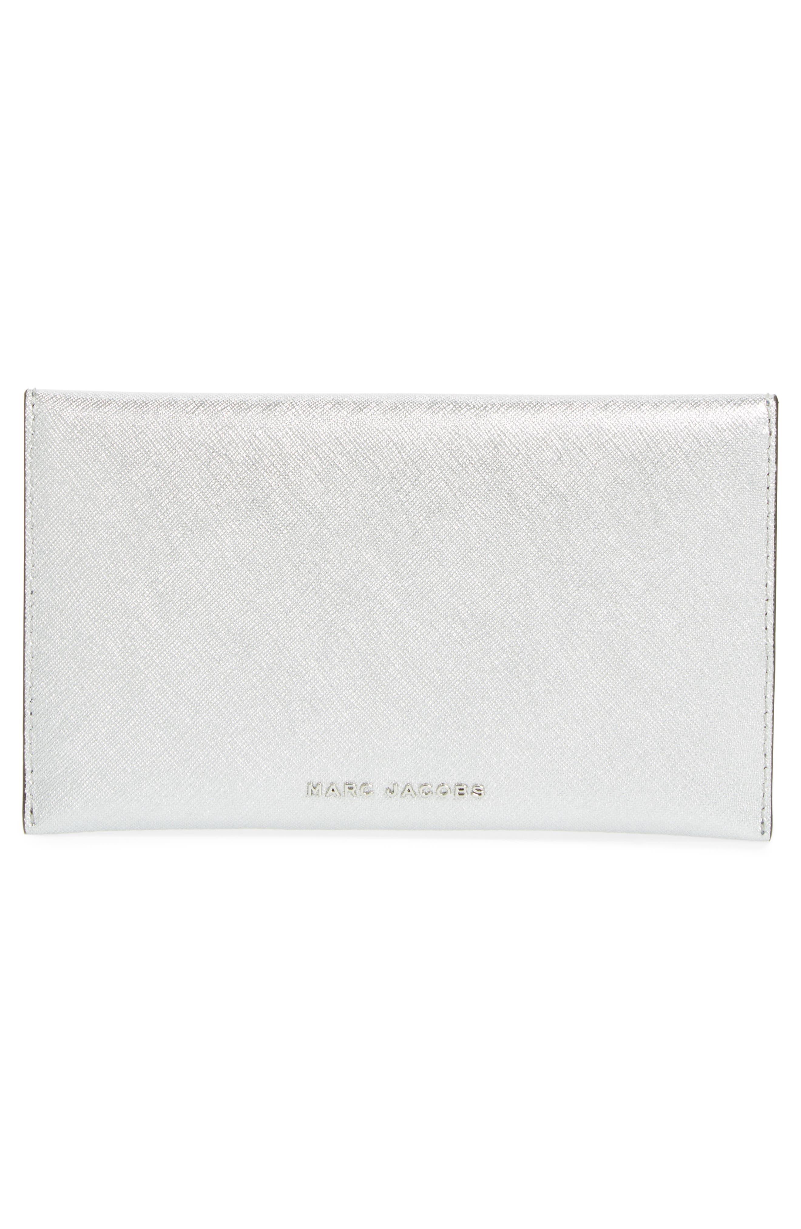 Double-J Saffiano Leather Pouch,                             Alternate thumbnail 3, color,                             Silver Multi
