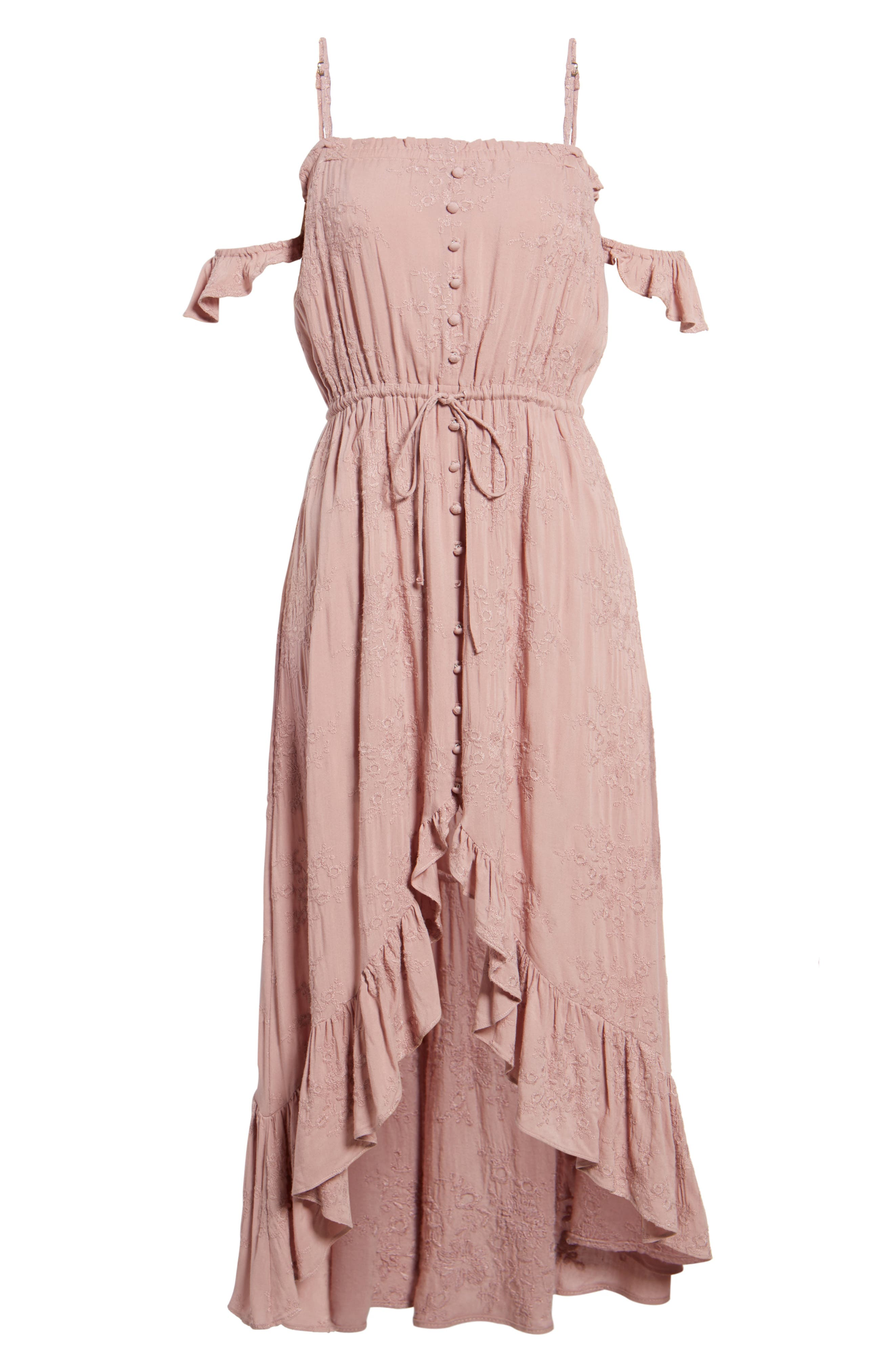 Rose Cold Shoulder High/Low Dress,                             Alternate thumbnail 7, color,                             Rosy Pink