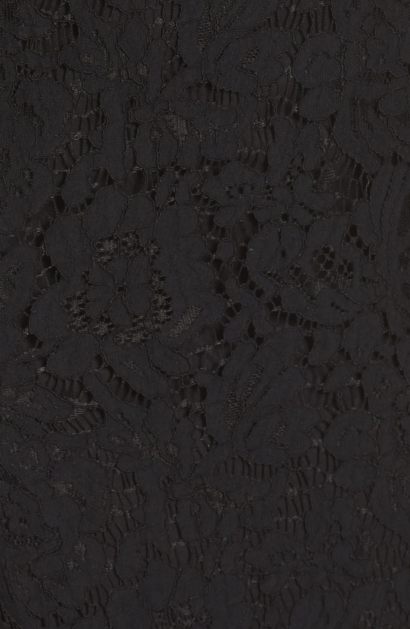 Dragon Eyes Lace Column Gown,                             Alternate thumbnail 5, color,                             Black