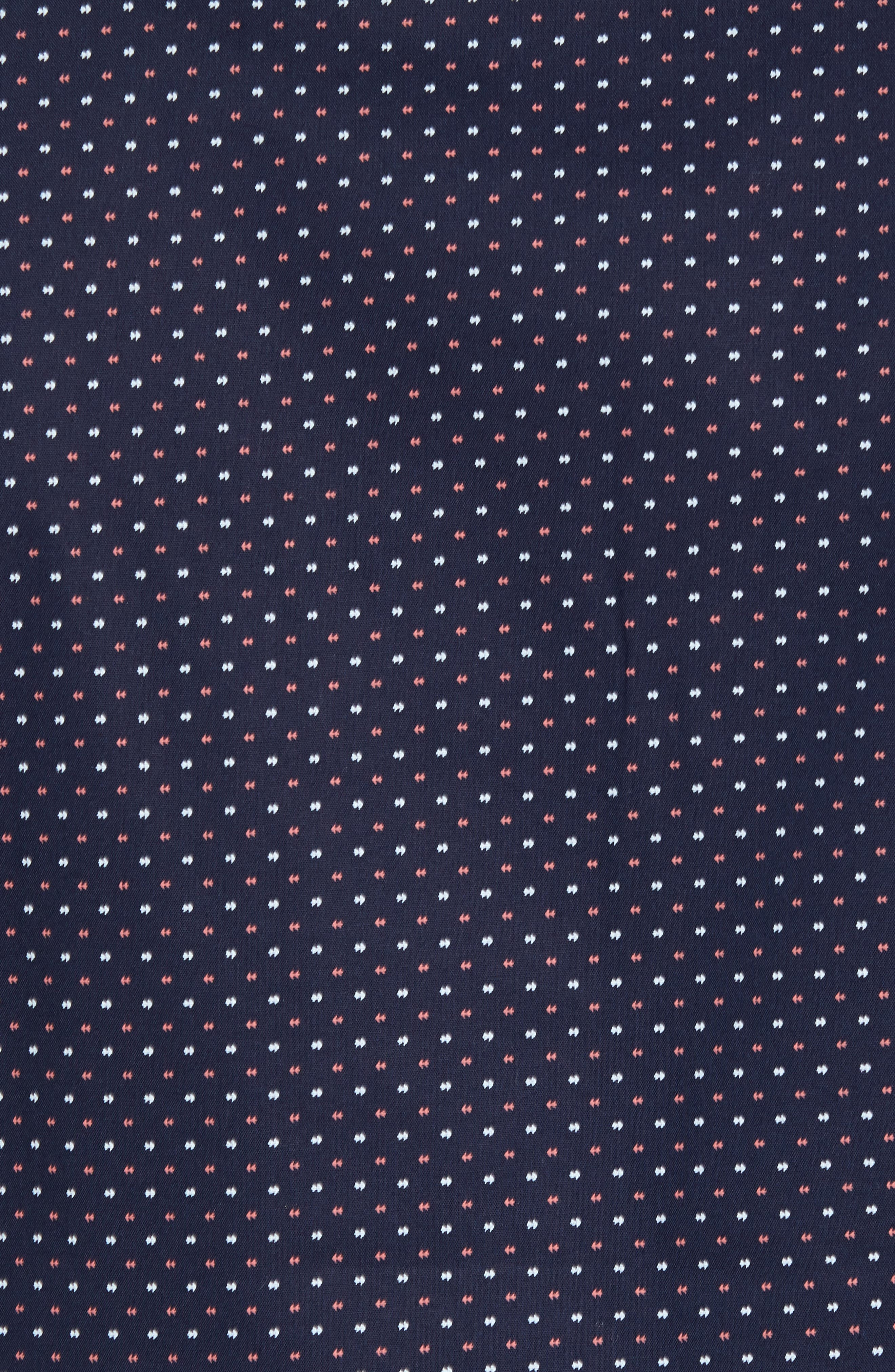 Cullen Trim Fit Print Sport Shirt,                             Alternate thumbnail 5, color,                             Navy