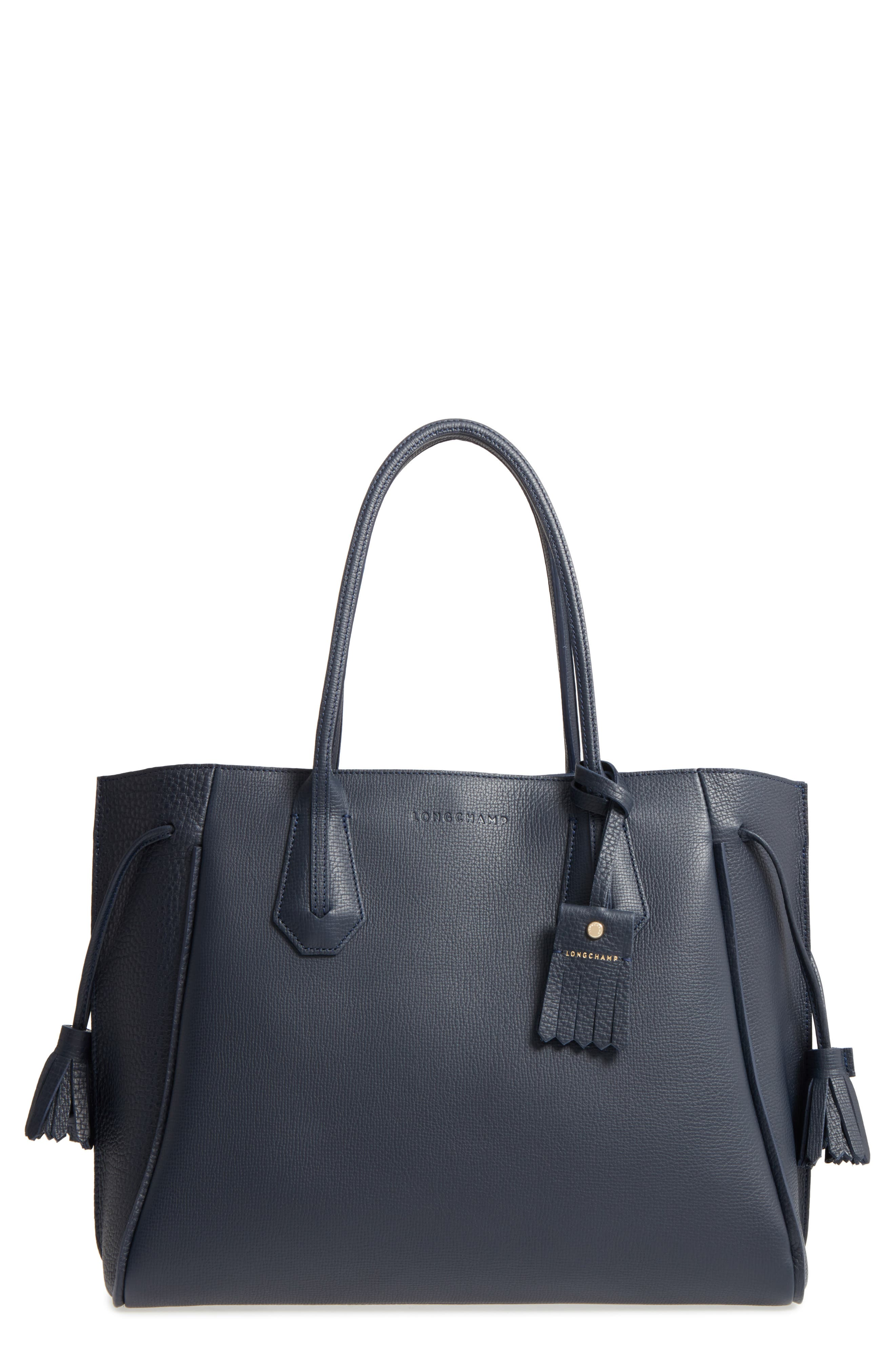 'Penelope' Tassel Drawstring Leather Tote,                             Main thumbnail 1, color,                             Midnight