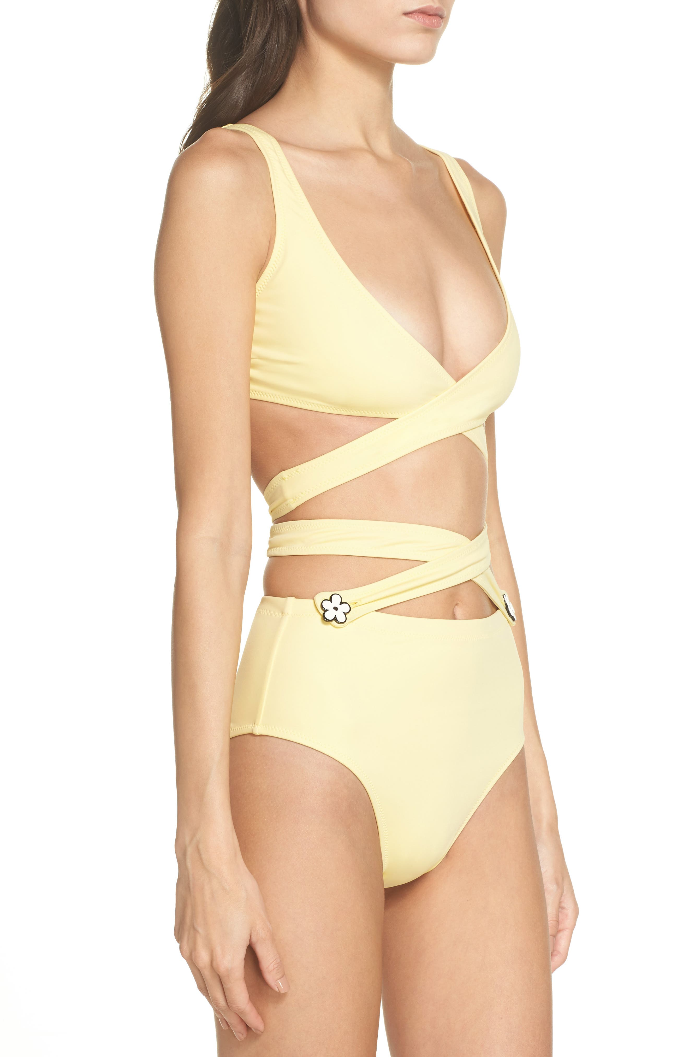 The Lauren Strappy One-Piece Swimsuit,                             Alternate thumbnail 3, color,                             Yellow