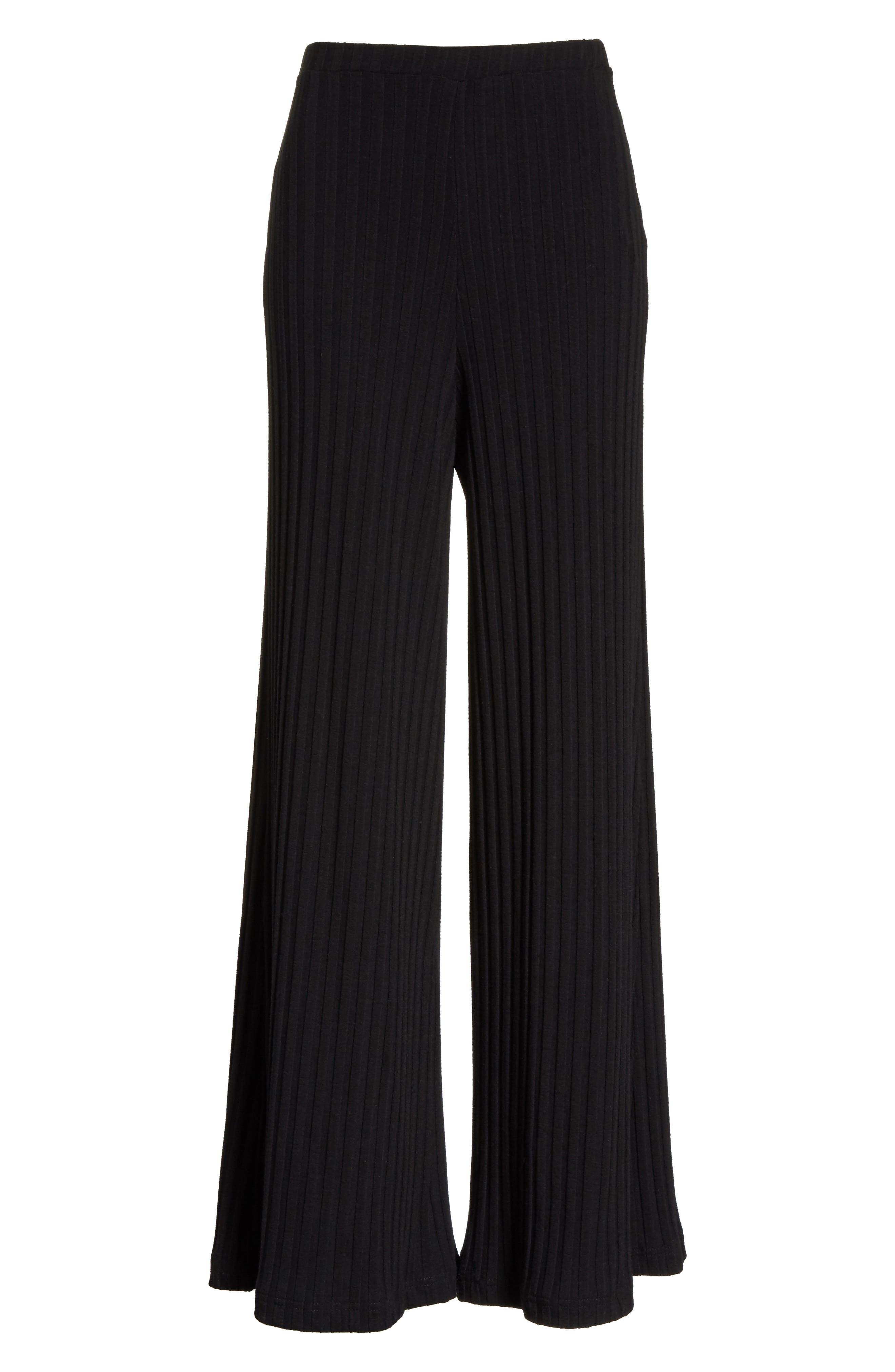 Rian Ribbed Bell Bottom Pants,                             Alternate thumbnail 6, color,                             Black