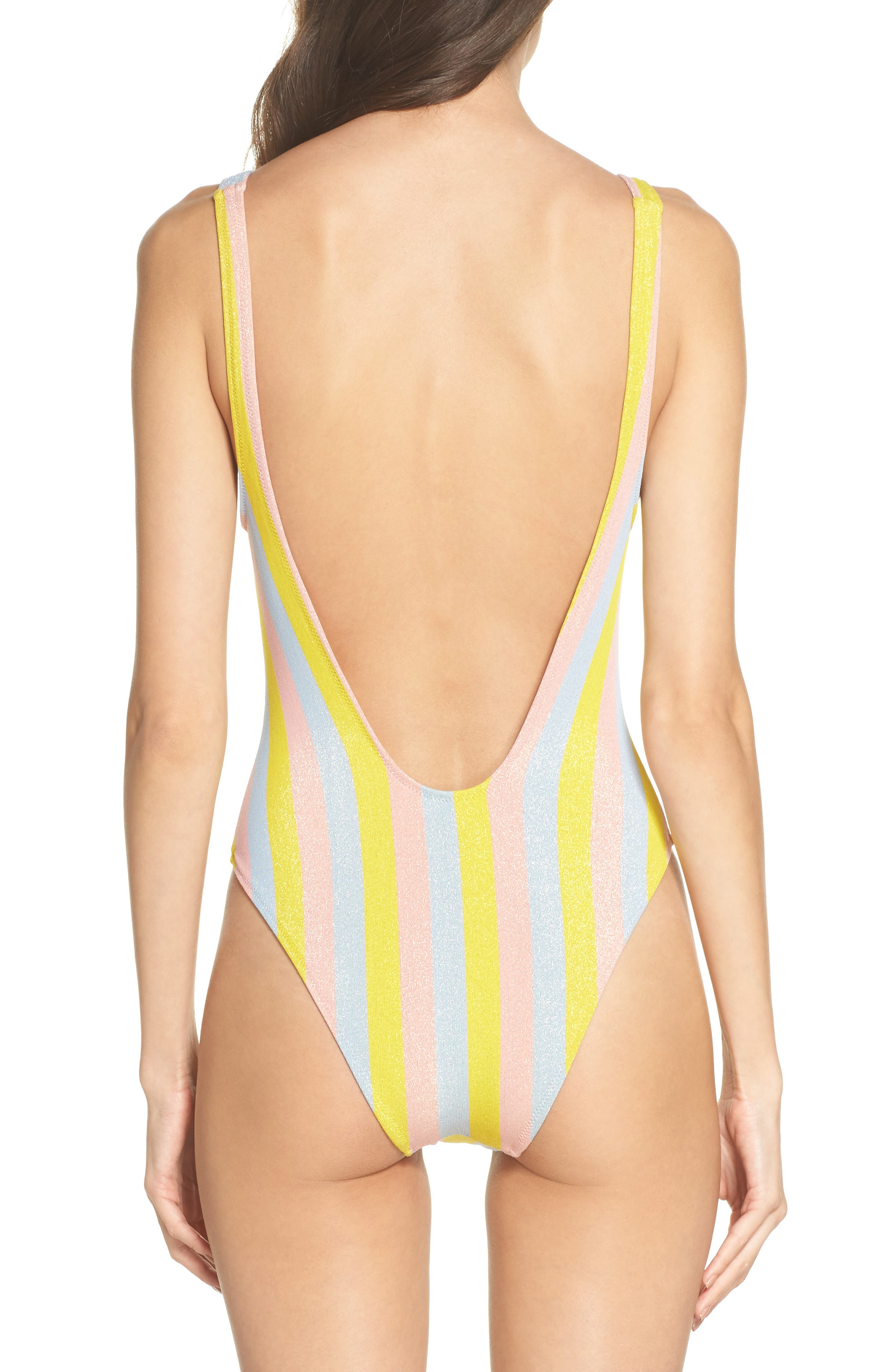 The Michelle One-Piece Swimsuit,                             Alternate thumbnail 2, color,                             Yellow/ Blue/ Pink
