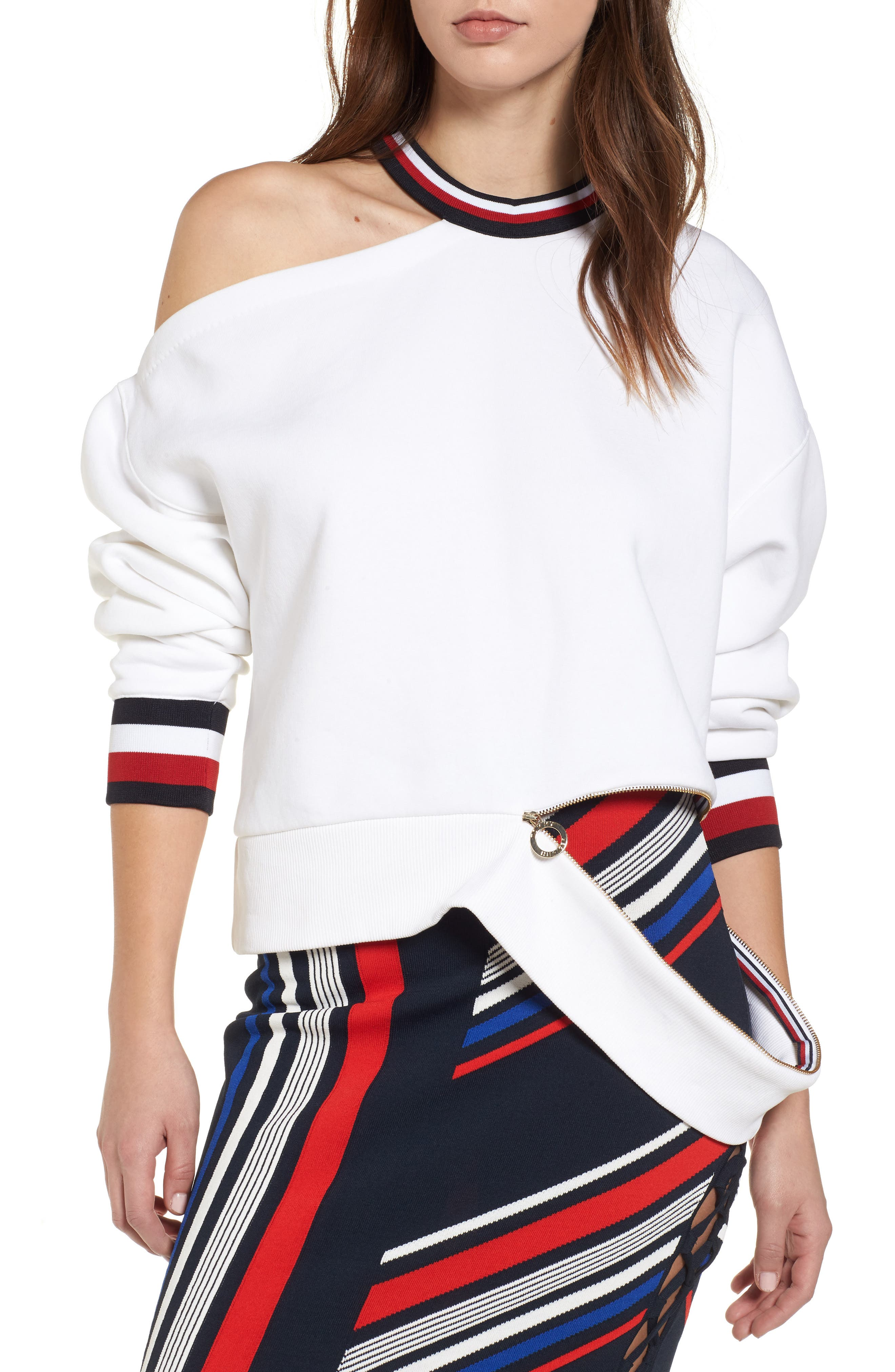 x Gigi Hadid Cold Shoulder Sweatshirt,                             Main thumbnail 1, color,                             Classic White