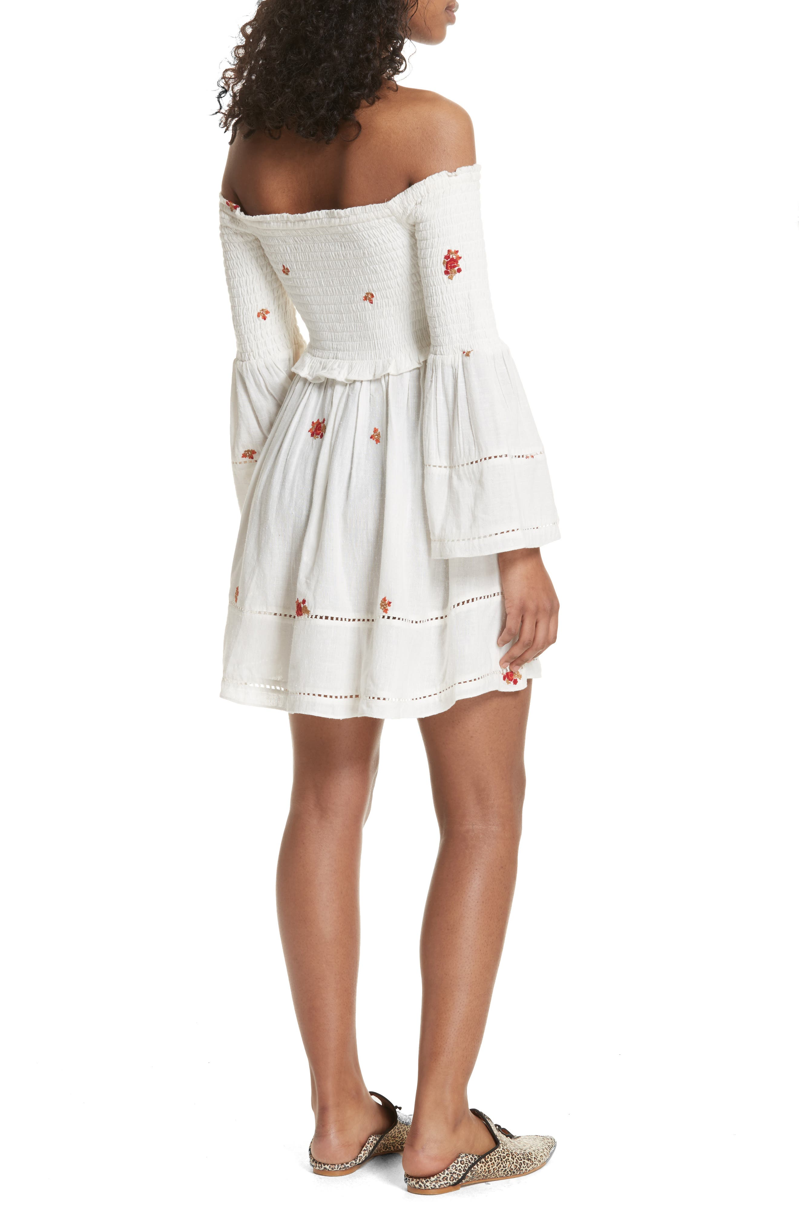 Counting Daisies Embroidered Off the Shoulder Dress,                             Alternate thumbnail 2, color,                             Ivory Combo