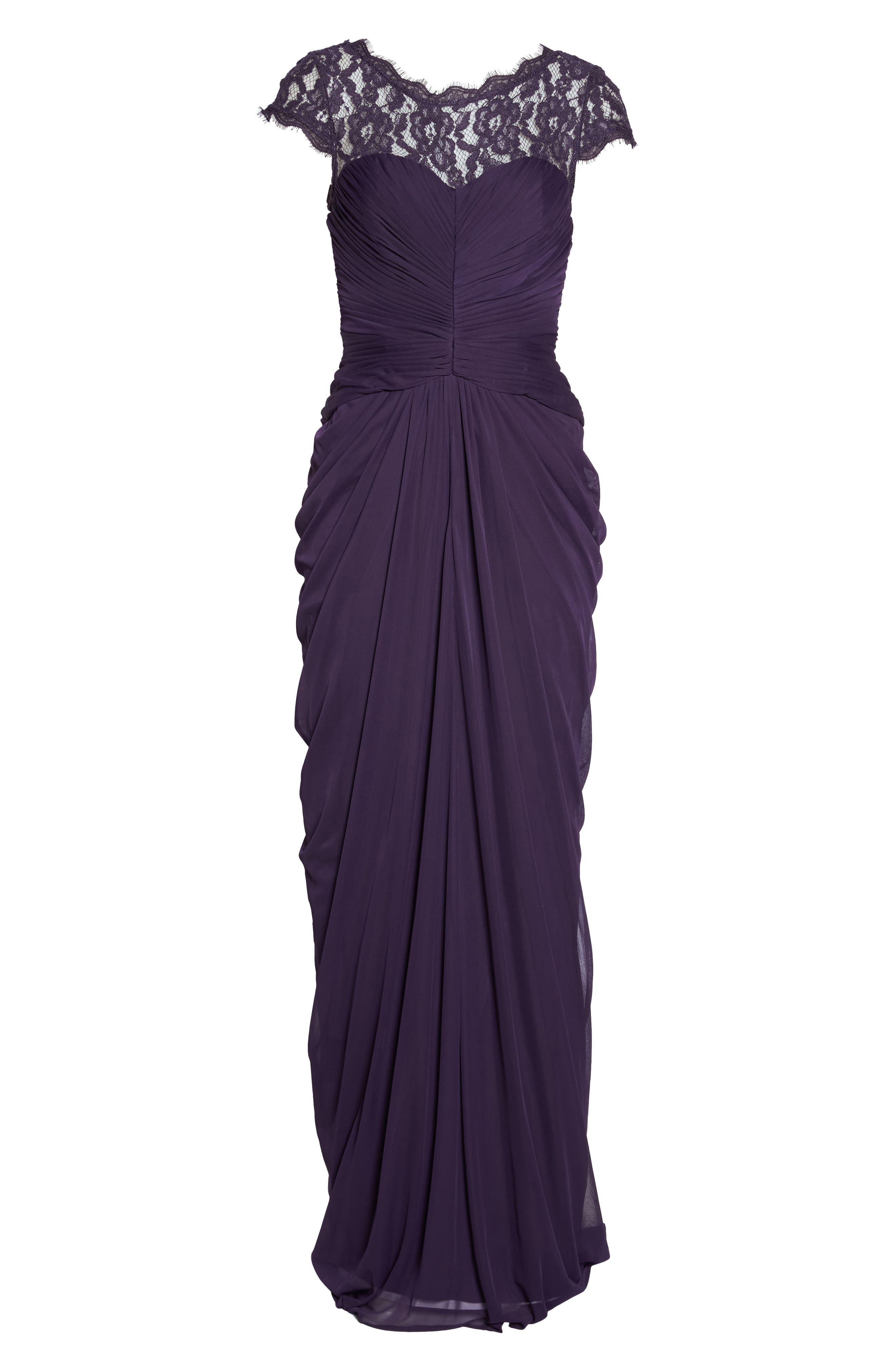 Lace Yoke Drape Gown,                         Main,                         color, Aubergine