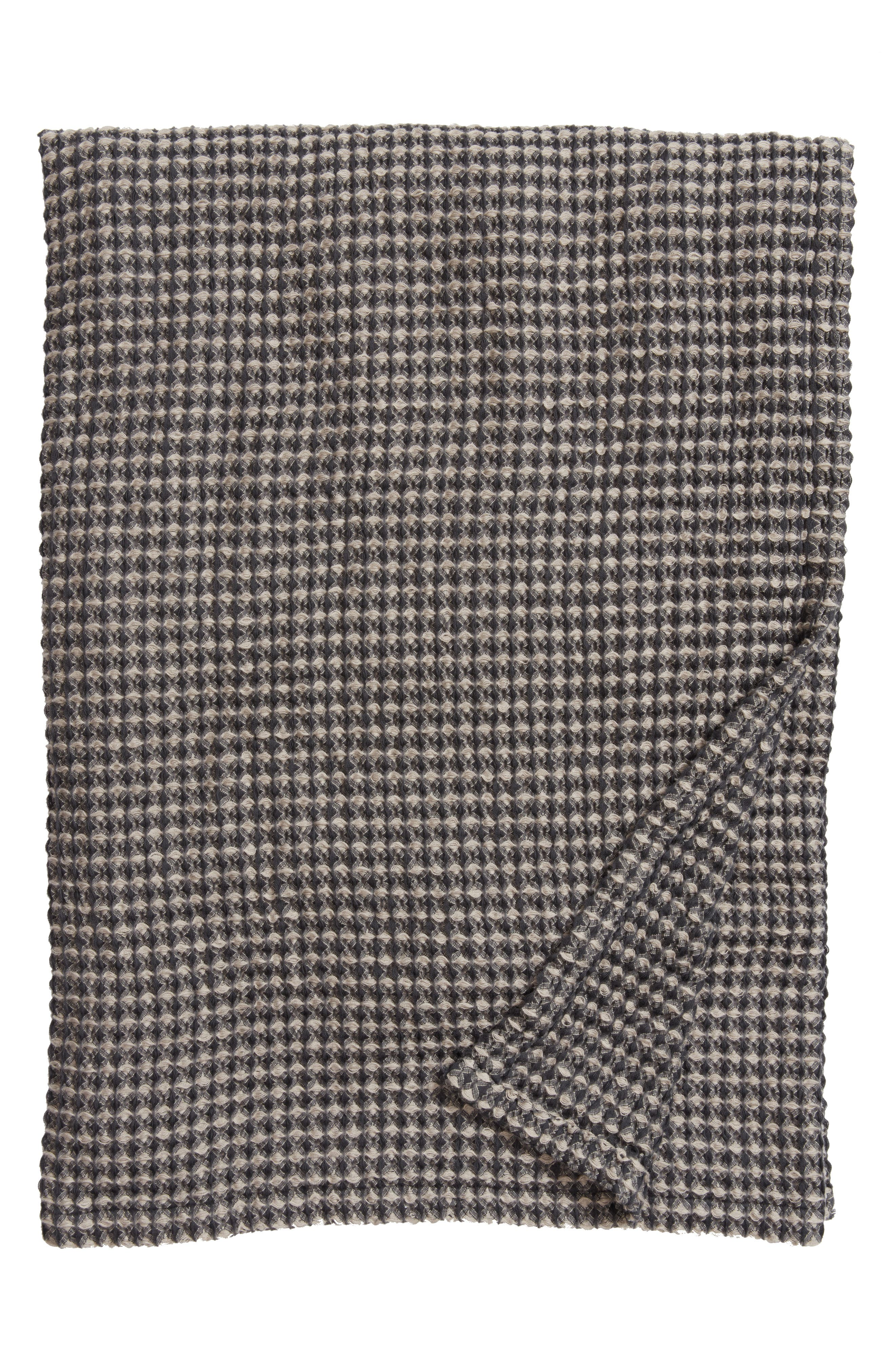Waffle Knit Blanket,                             Main thumbnail 1, color,                             Grey Onyx
