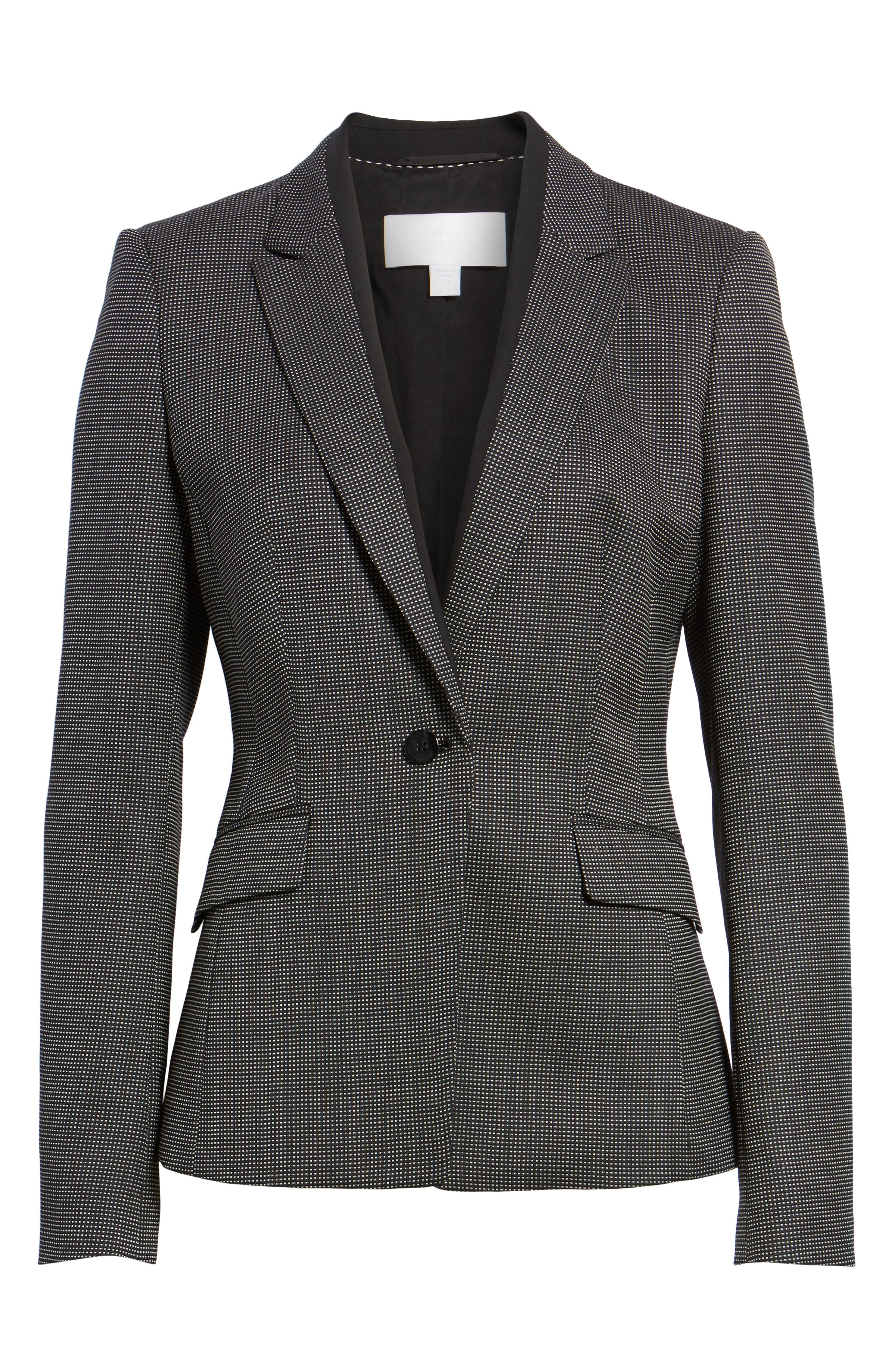 Jeresa Check Stretch Wool Suit Jacket,                             Alternate thumbnail 6, color,                             Black Fantasy