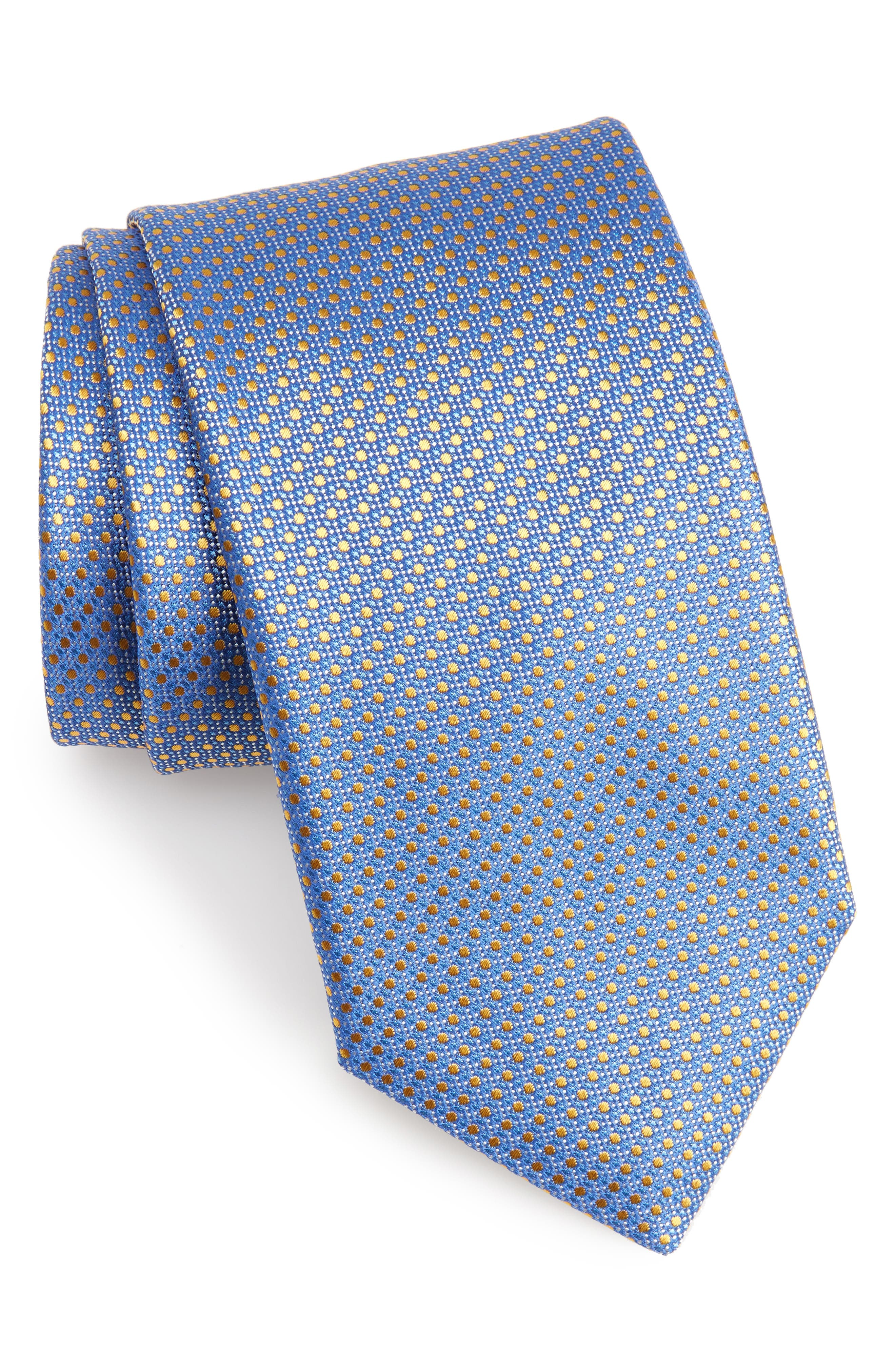 Neat Silk Tie,                             Main thumbnail 1, color,                             Med Blue
