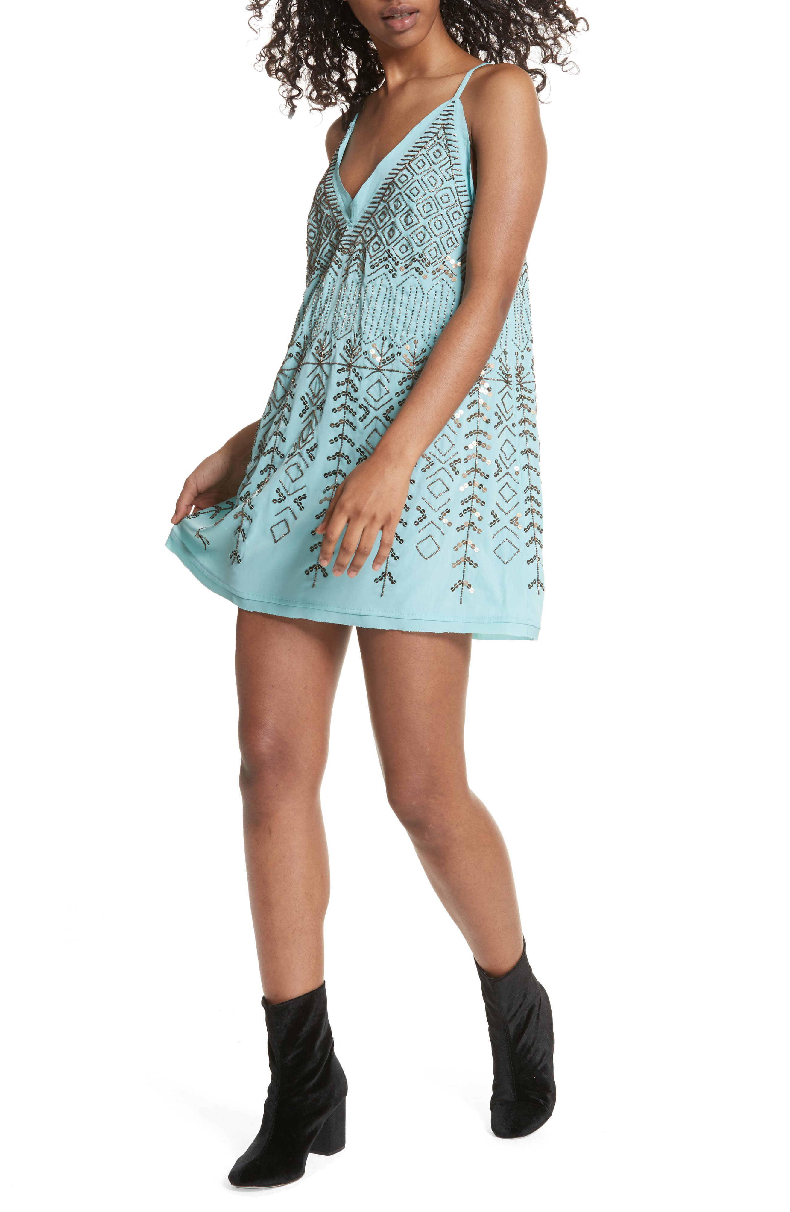 Arizona Nights Mini Slipdress,                             Alternate thumbnail 7, color,                             Mint