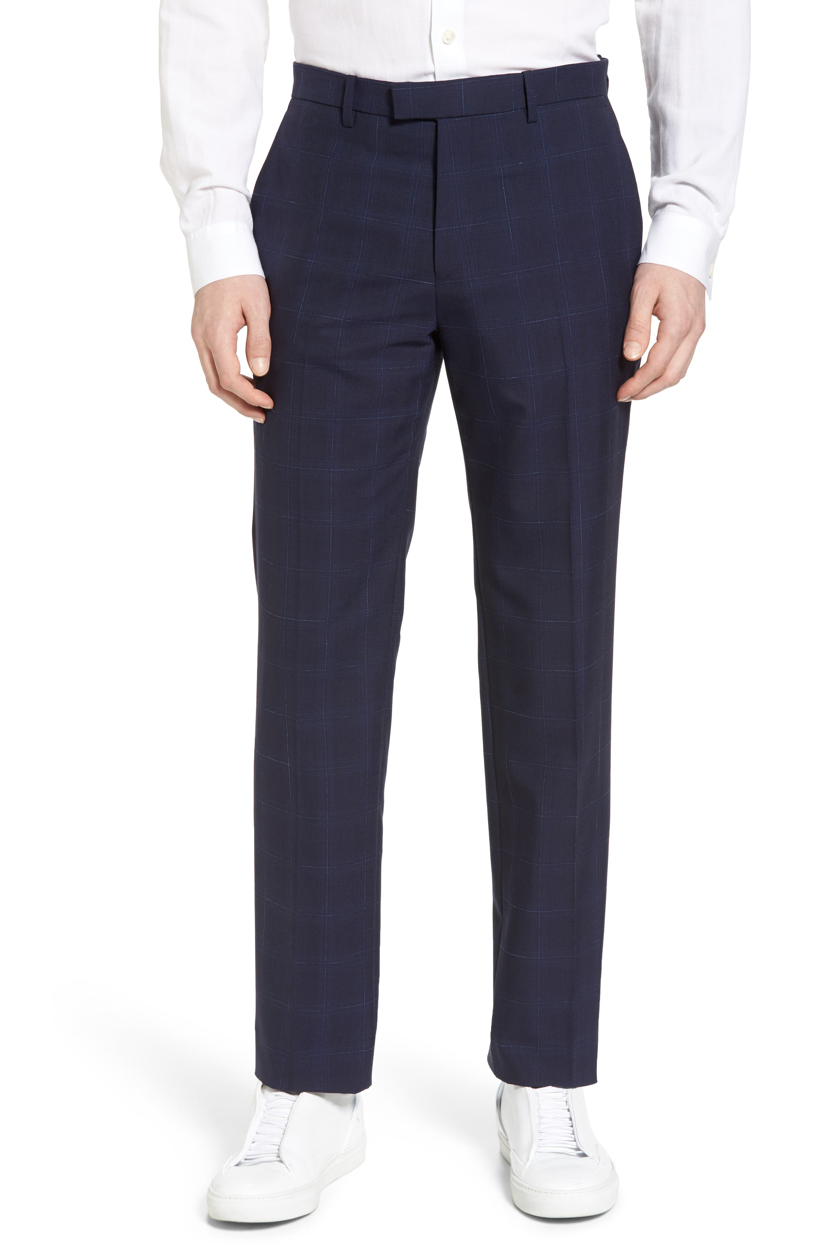 Marlo Flat Front Plaid Wool Trousers,                         Main,                         color, Eclipse