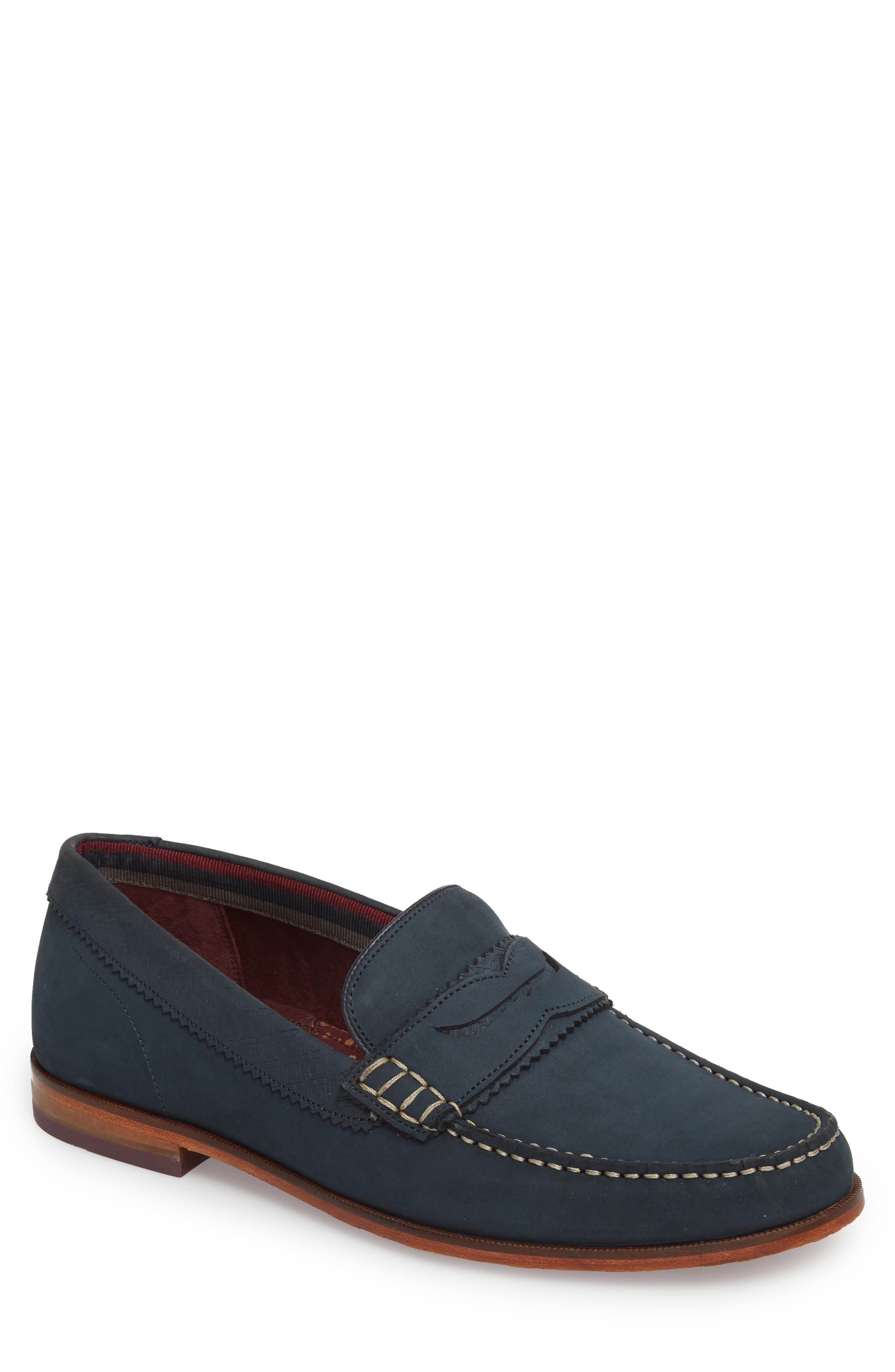 Miicke 5 Penny Loafer,                             Main thumbnail 1, color,                             Dark Blue Nubuck