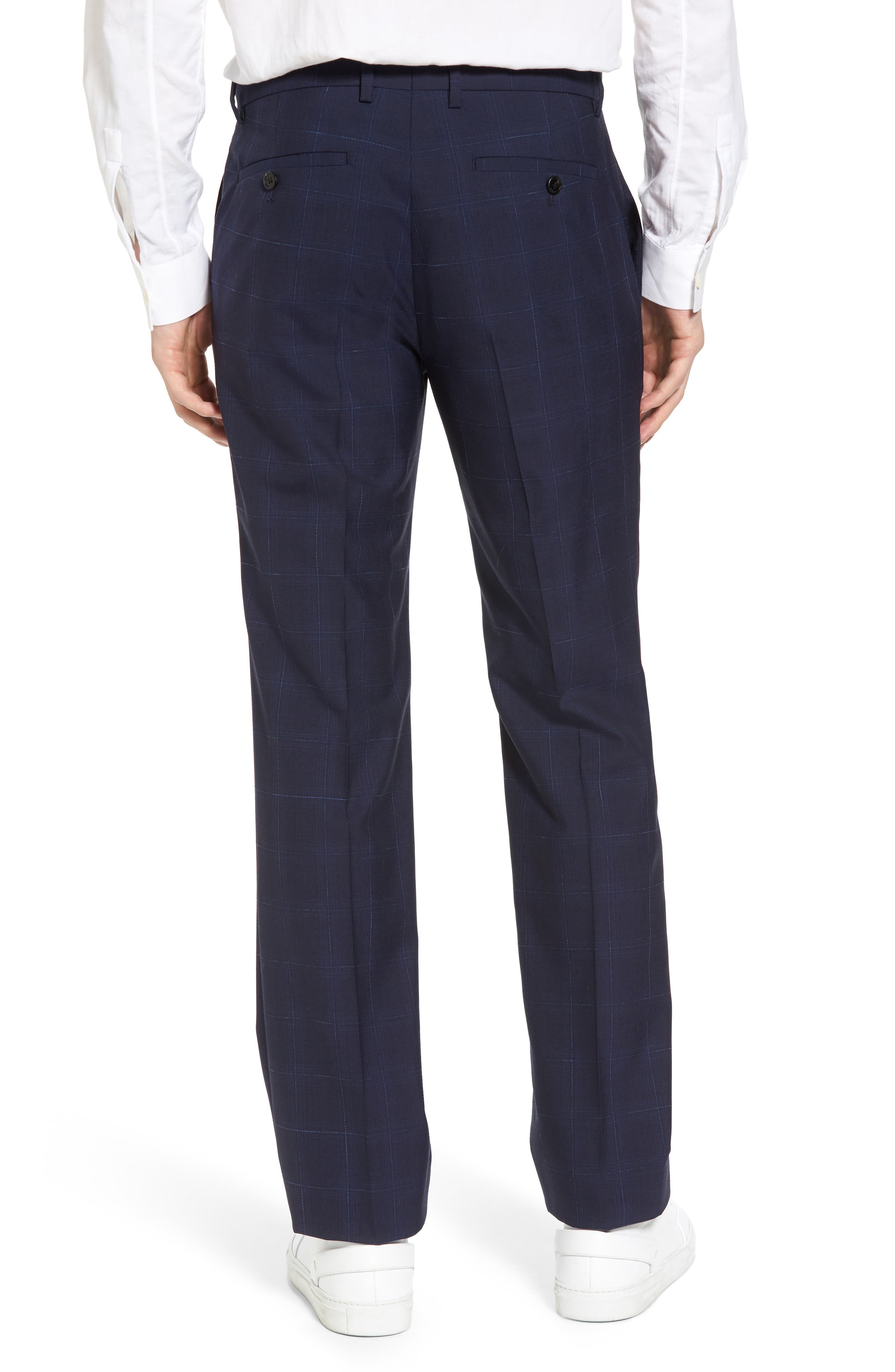 Marlo Flat Front Plaid Wool Trousers,                             Alternate thumbnail 2, color,                             Eclipse