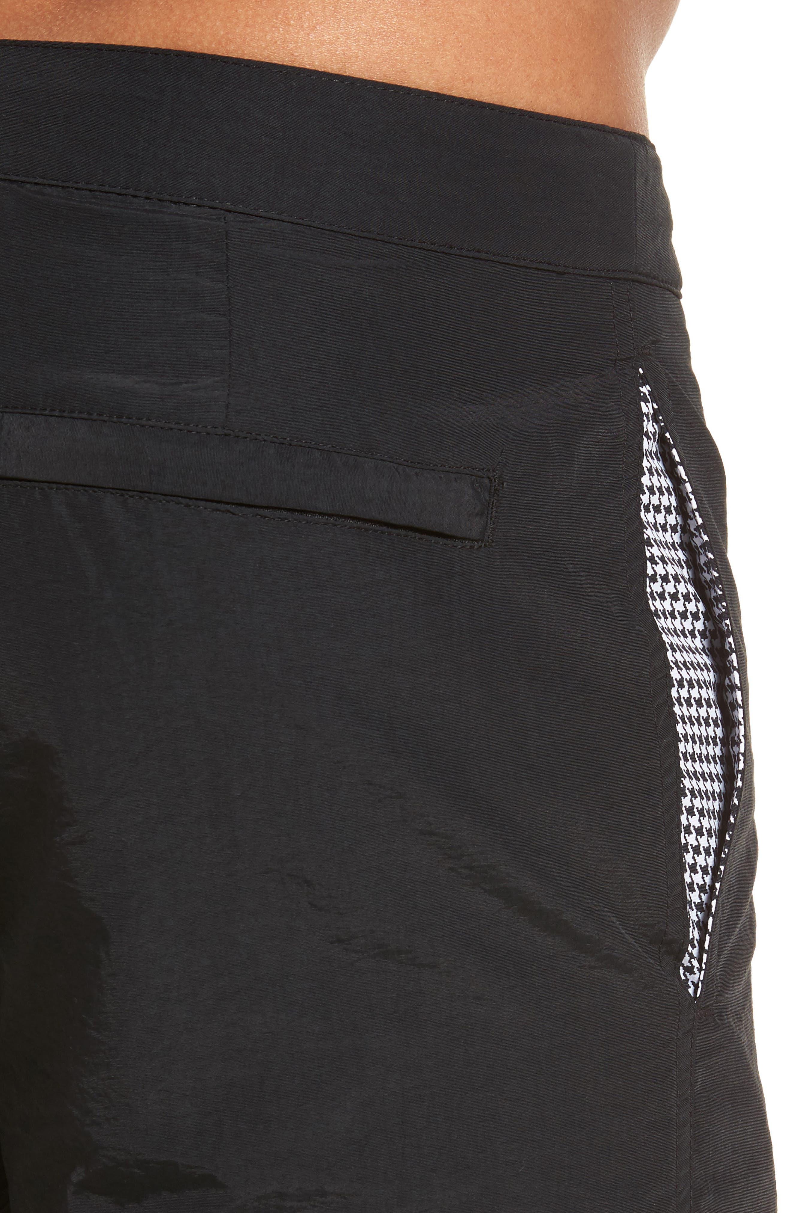 'Aruba' Tailored Fit Swim Trunks,                             Alternate thumbnail 4, color,                             Midnight Black Solid