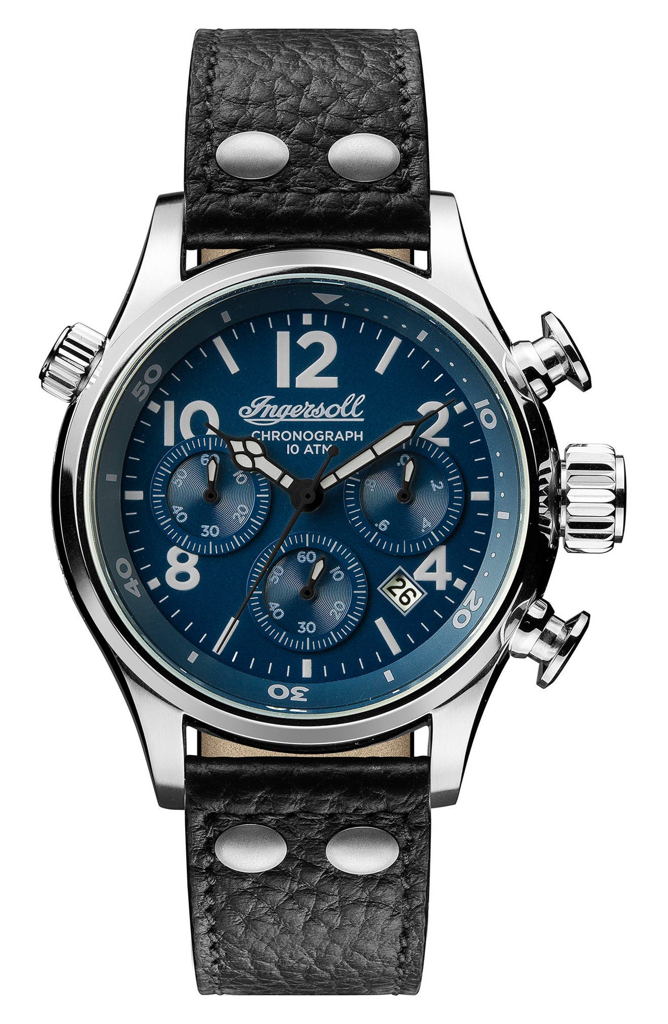 Ingersoll Chronograph Leather Strap Watch, 46mm,                         Main,                         color, Black/ Blue/ Silver