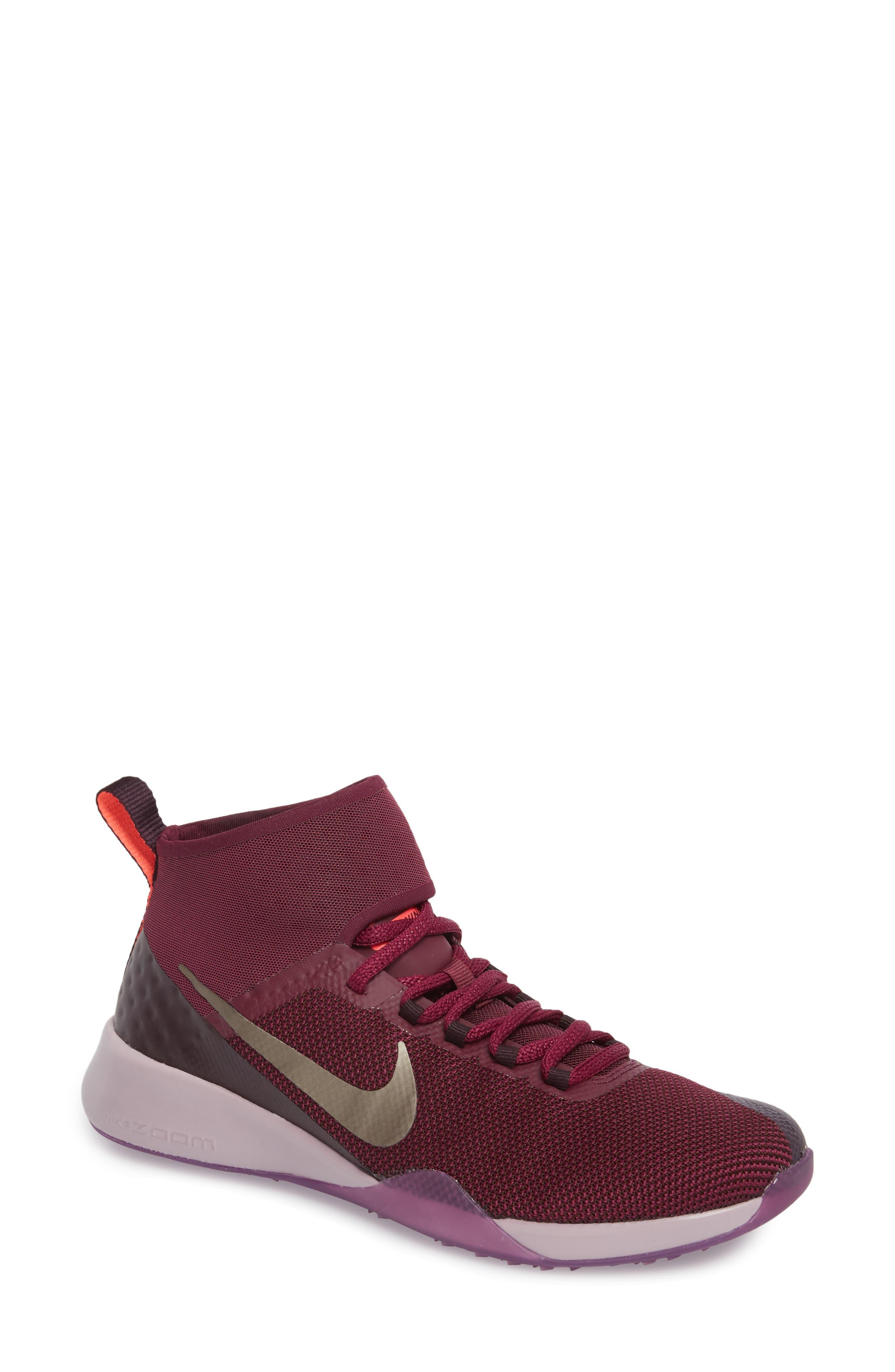 Air Zoom Strong 2 Gem Training Shoe,                             Main thumbnail 1, color,                             Bordeaux/ Metallic Pewter