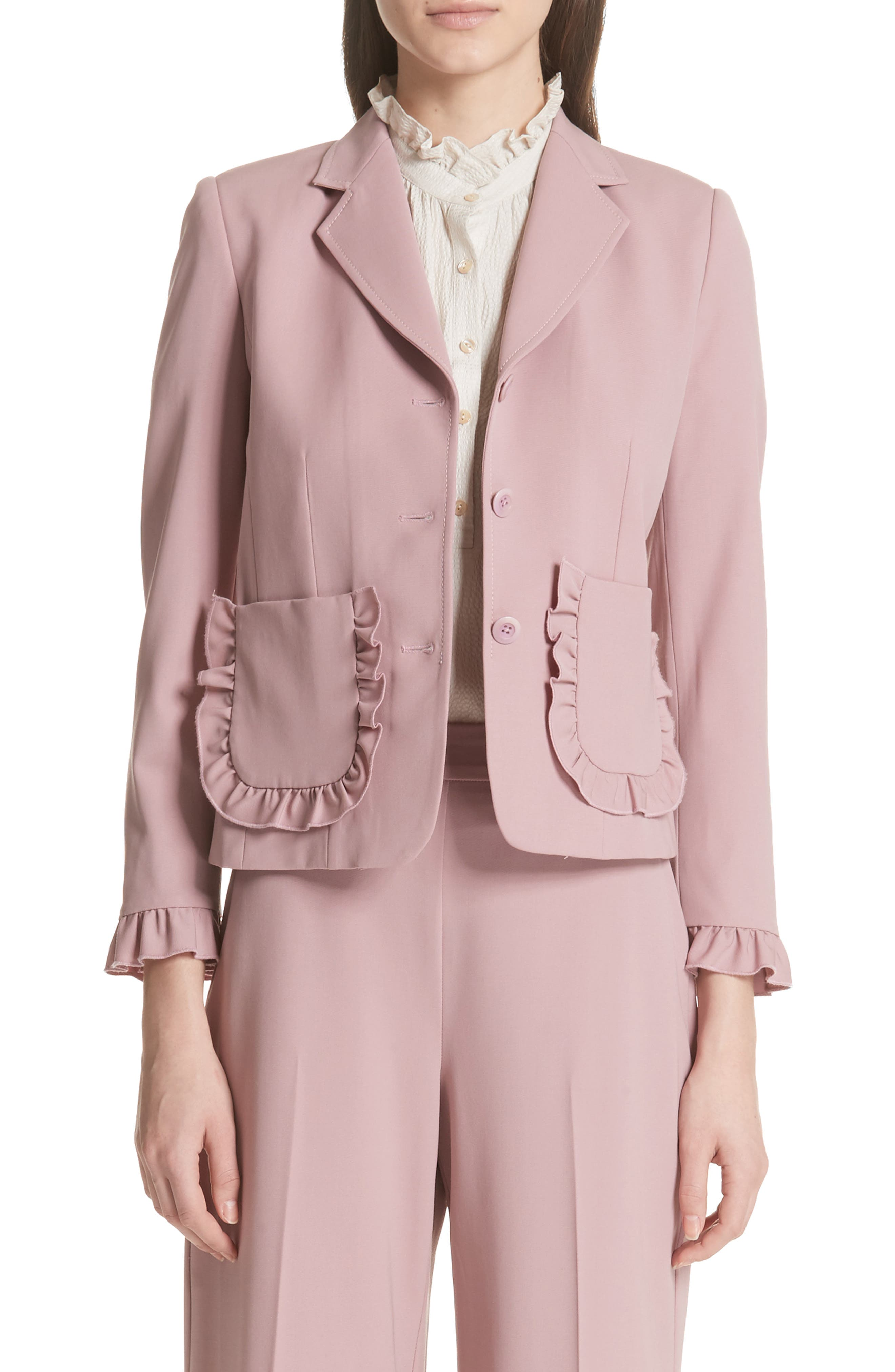 Ruffle Trim Jacket,                         Main,                         color, Dusty Rose