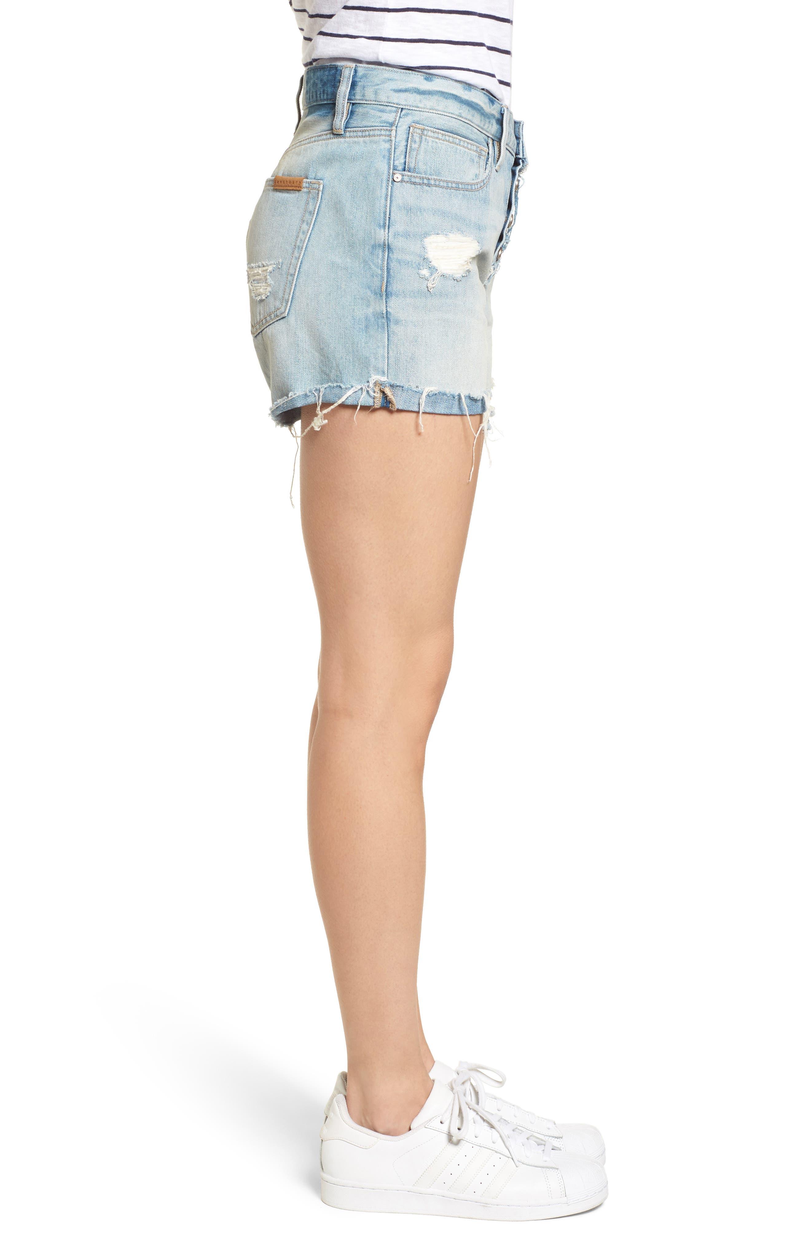 Distressed Fray Hem Rolled Shorts,                             Alternate thumbnail 4, color,                             Olivia Wash