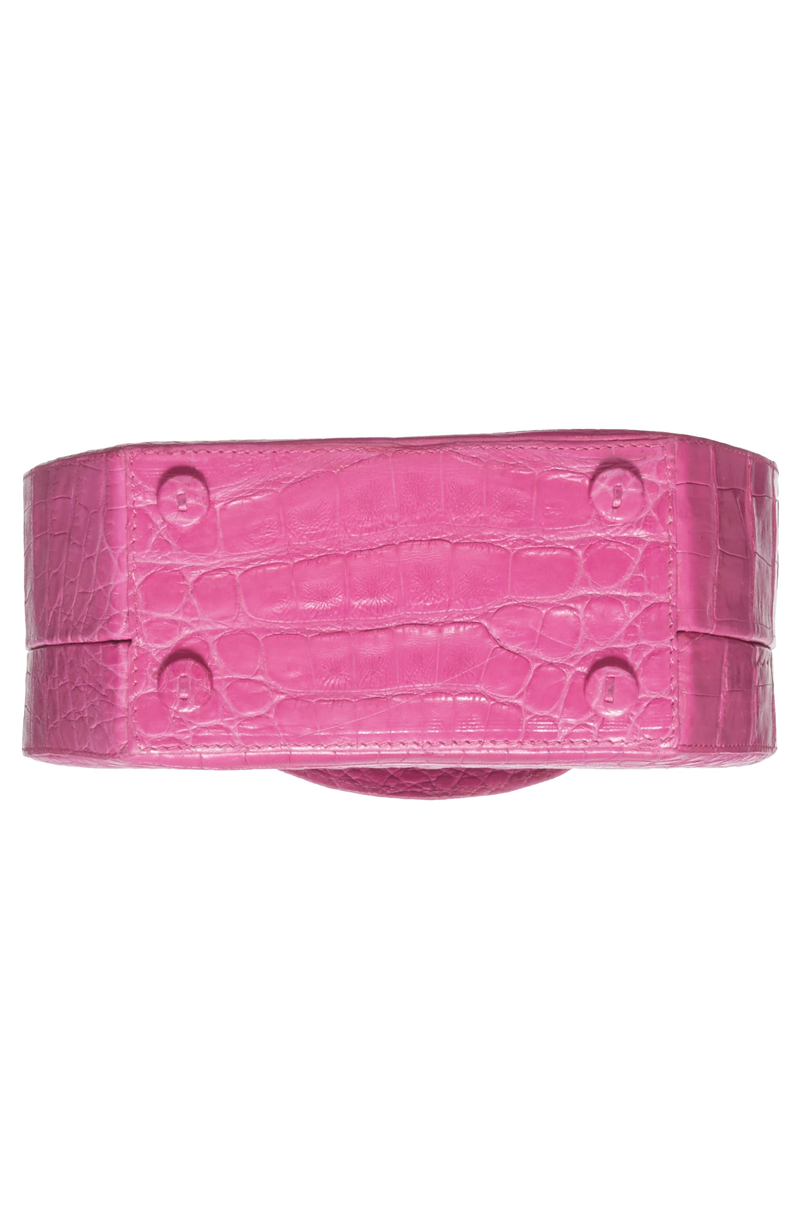 Genuine Crocodile Circle Bag,                             Alternate thumbnail 6, color,                             Pink