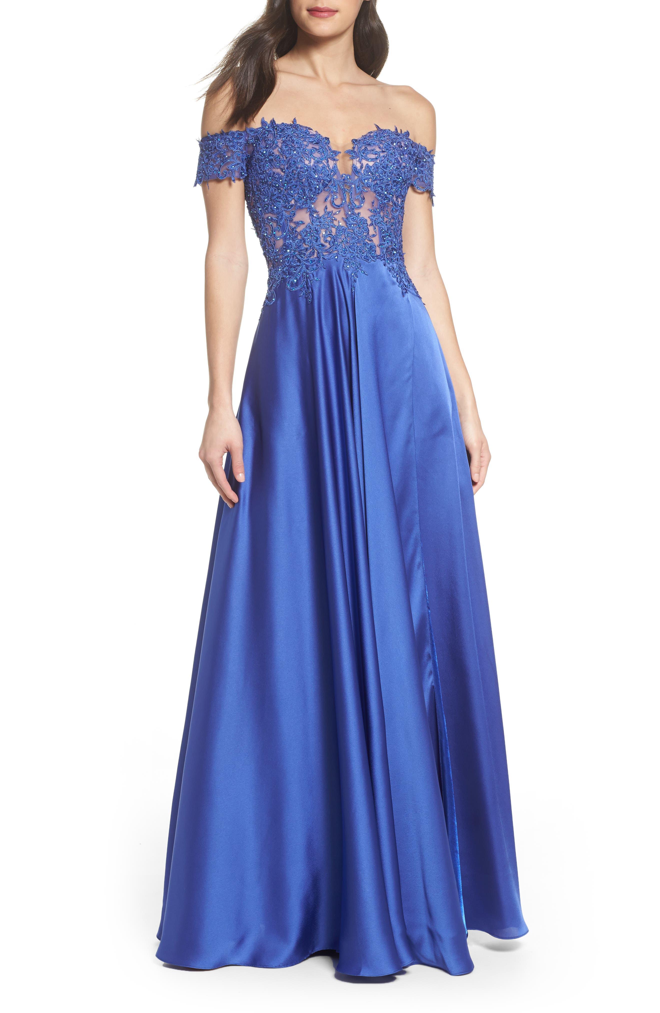 Main Image - La Femme Embroidered Off the Shoulder Satin A-Line Gown