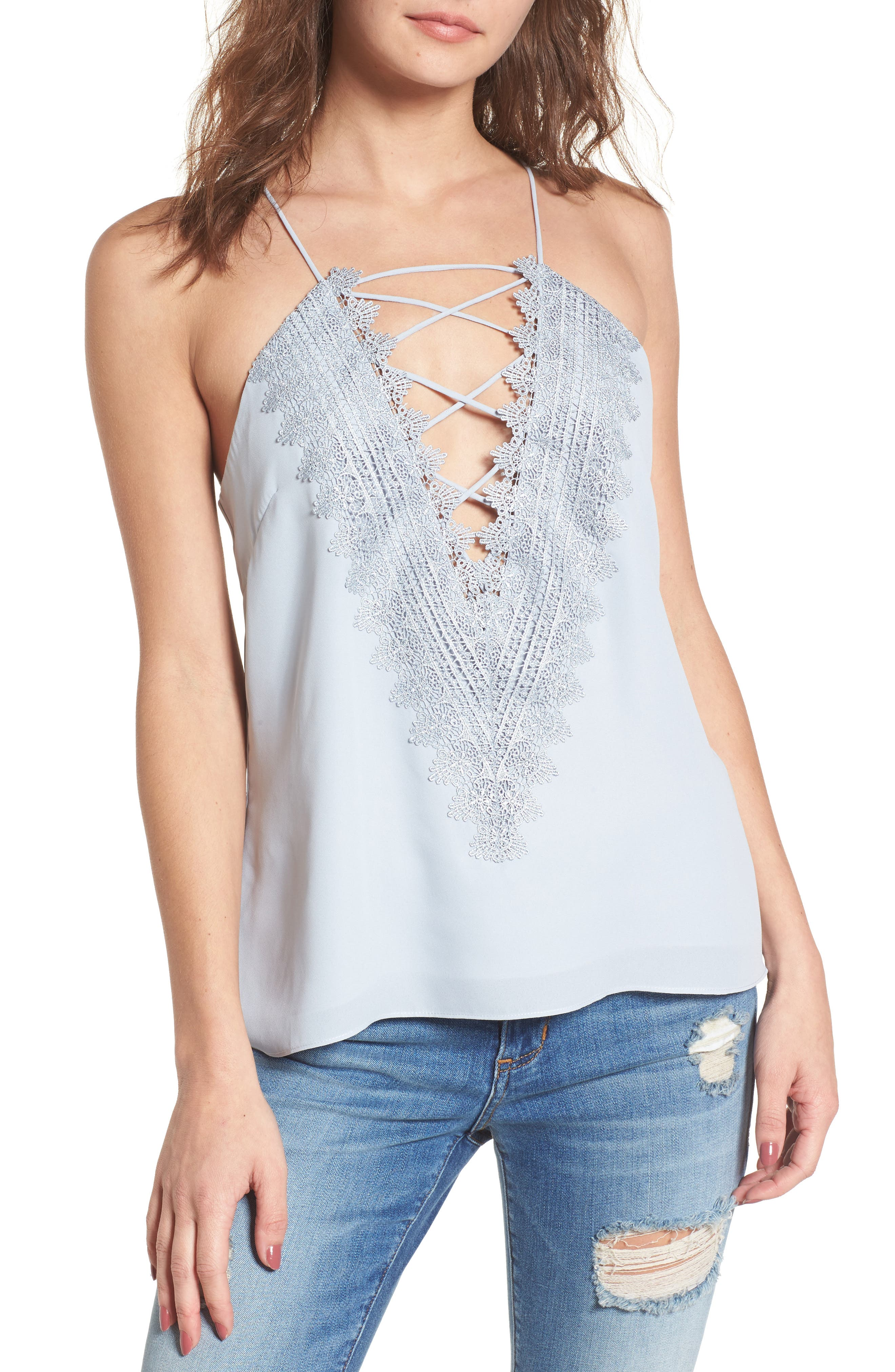 Posie Strappy Camisole,                             Main thumbnail 1, color,                             Blue Pearl