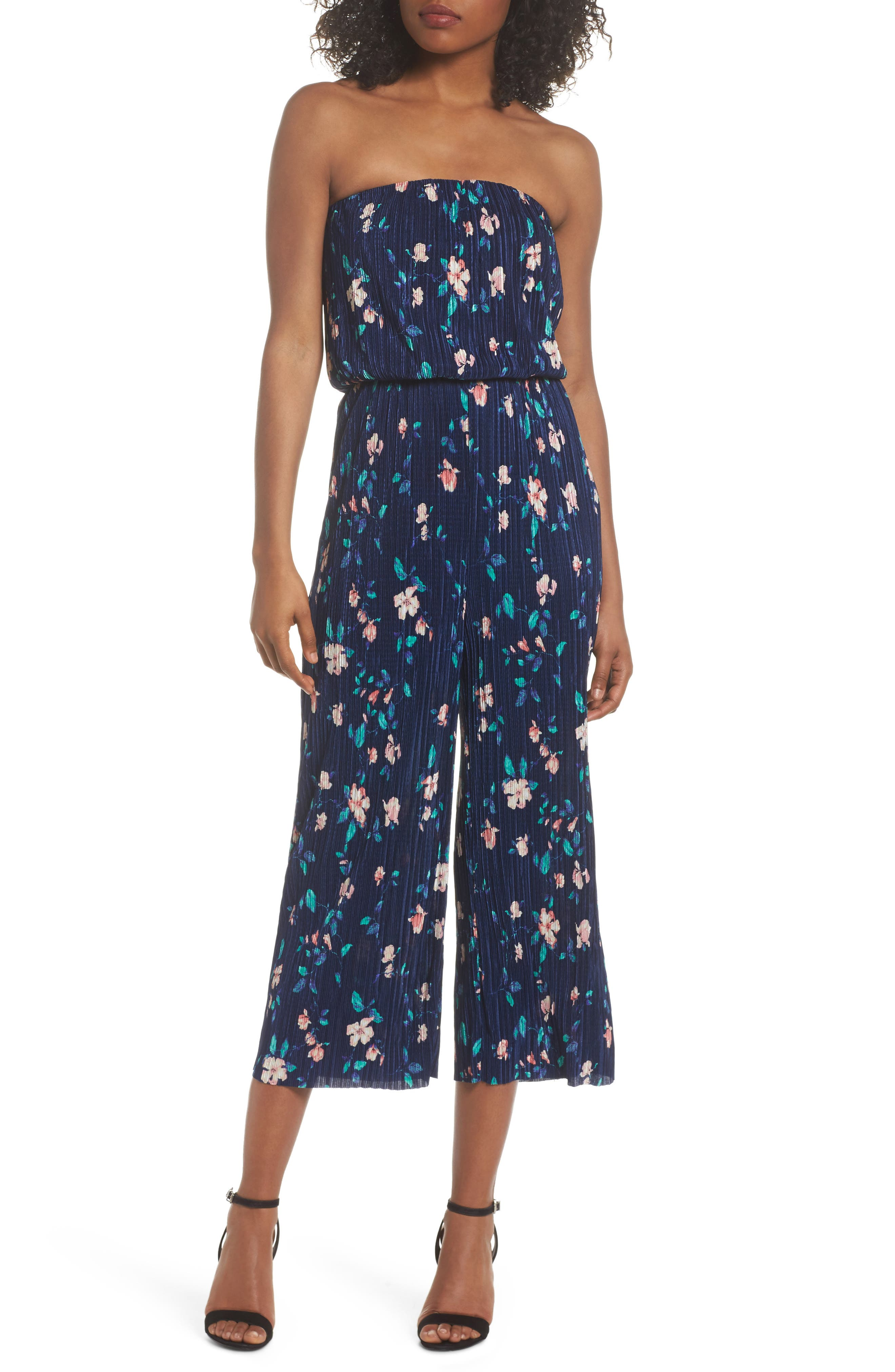 Strapless Culotte Jumpsuit,                             Main thumbnail 1, color,                             Navy/ Pink