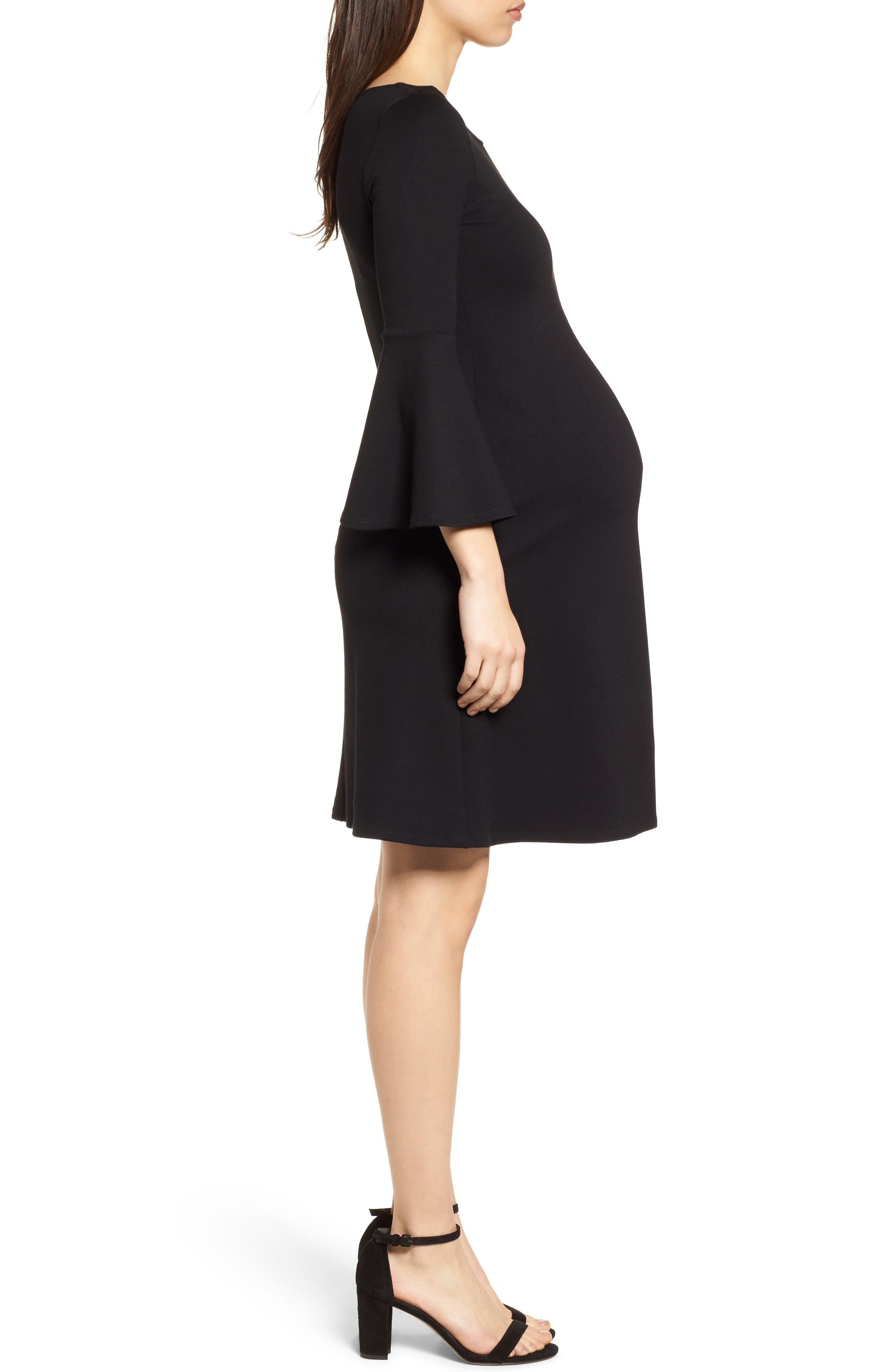 Natalia Maternity Dress,                             Alternate thumbnail 3, color,                             Caviar Black