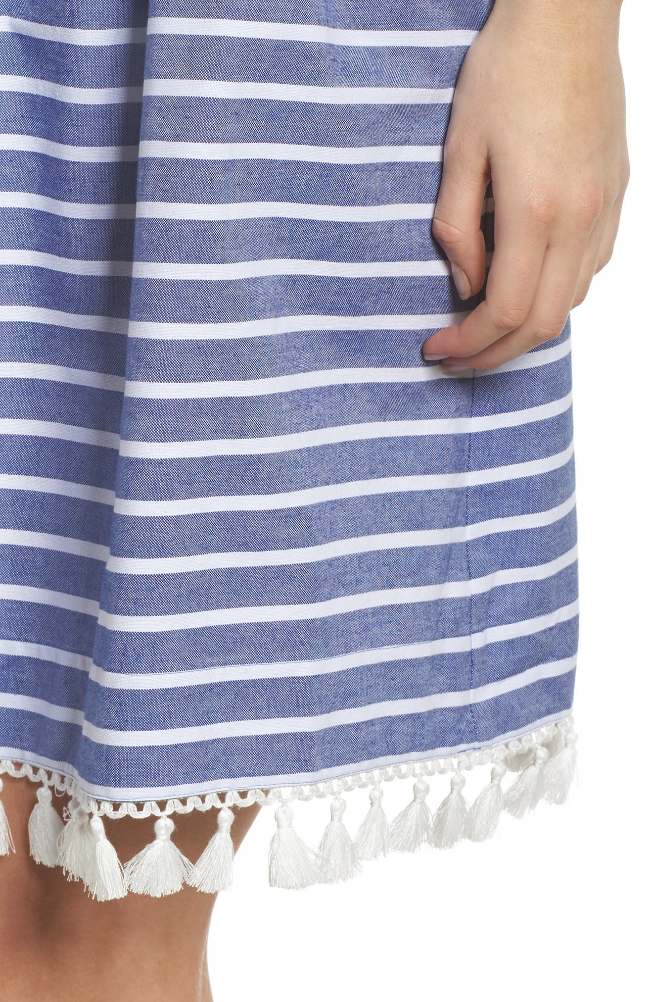 Stripe Off the Shoulder Dress,                             Alternate thumbnail 4, color,                             Navy/ Ivory