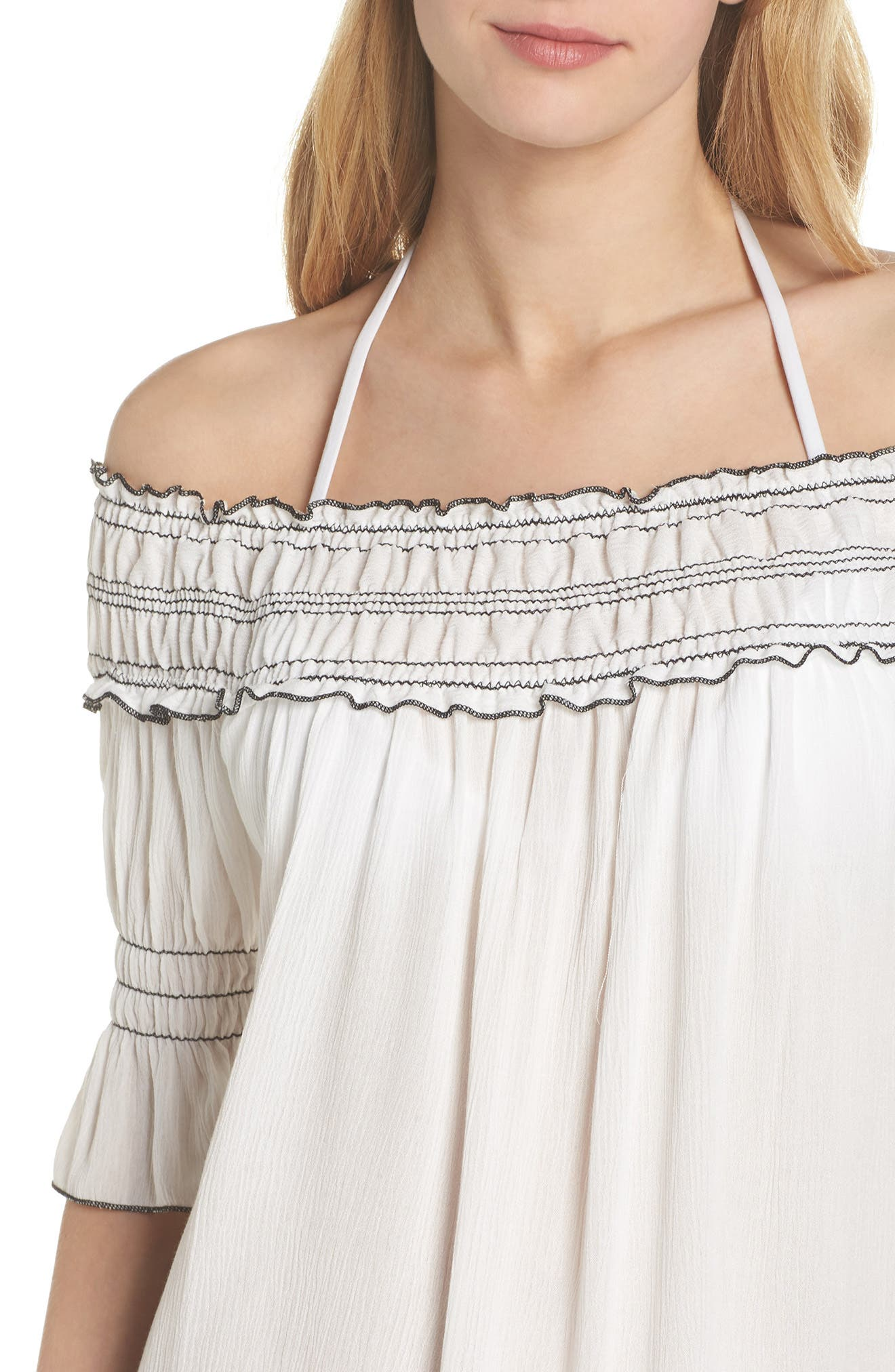 Nightingale Off the Shoulder Cover-Up Dress,                             Alternate thumbnail 4, color,                             White