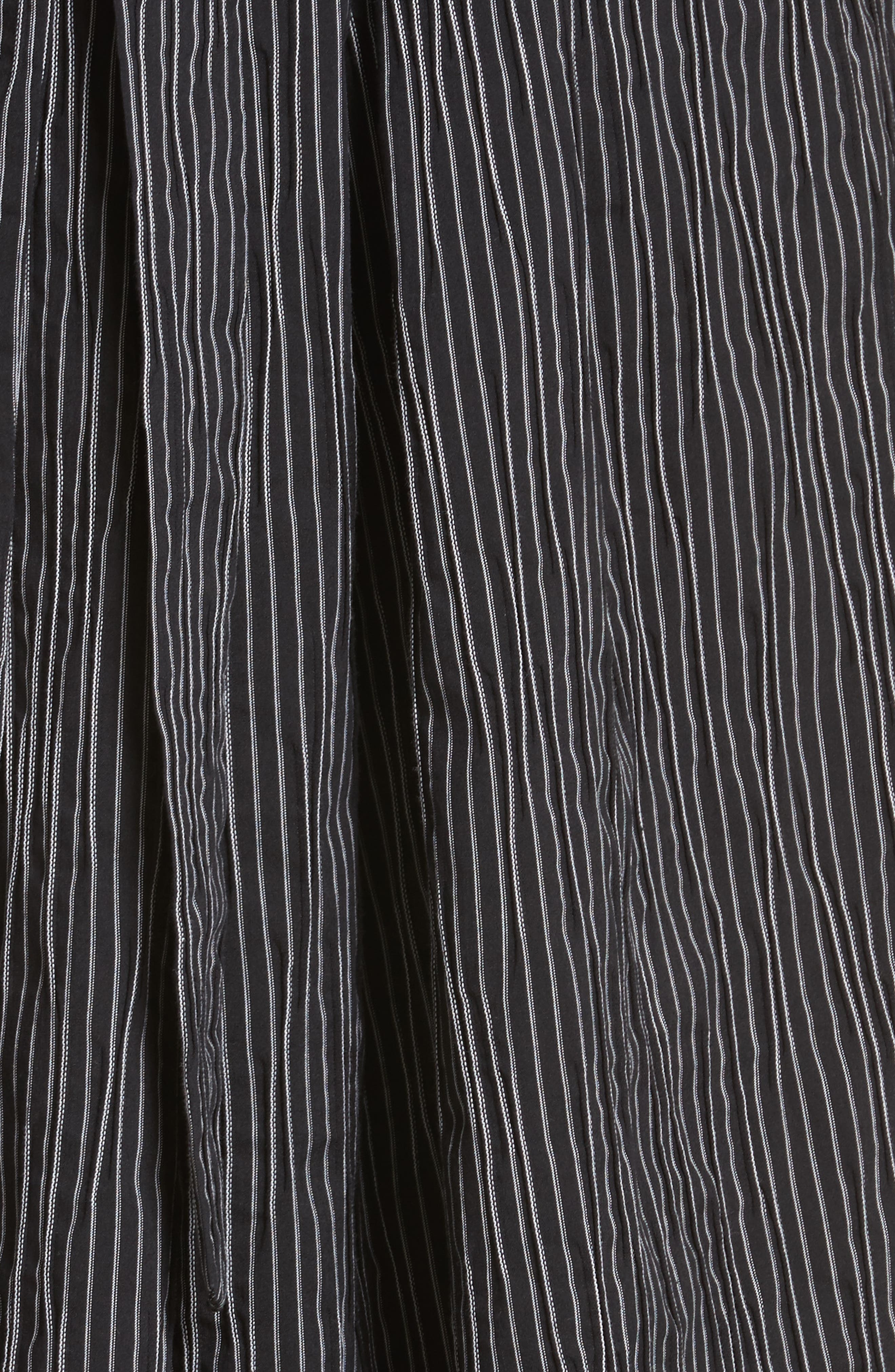Stripe Crinkle Cotton Blend Midi Dress,                             Alternate thumbnail 5, color,                             Black/ White Stripe