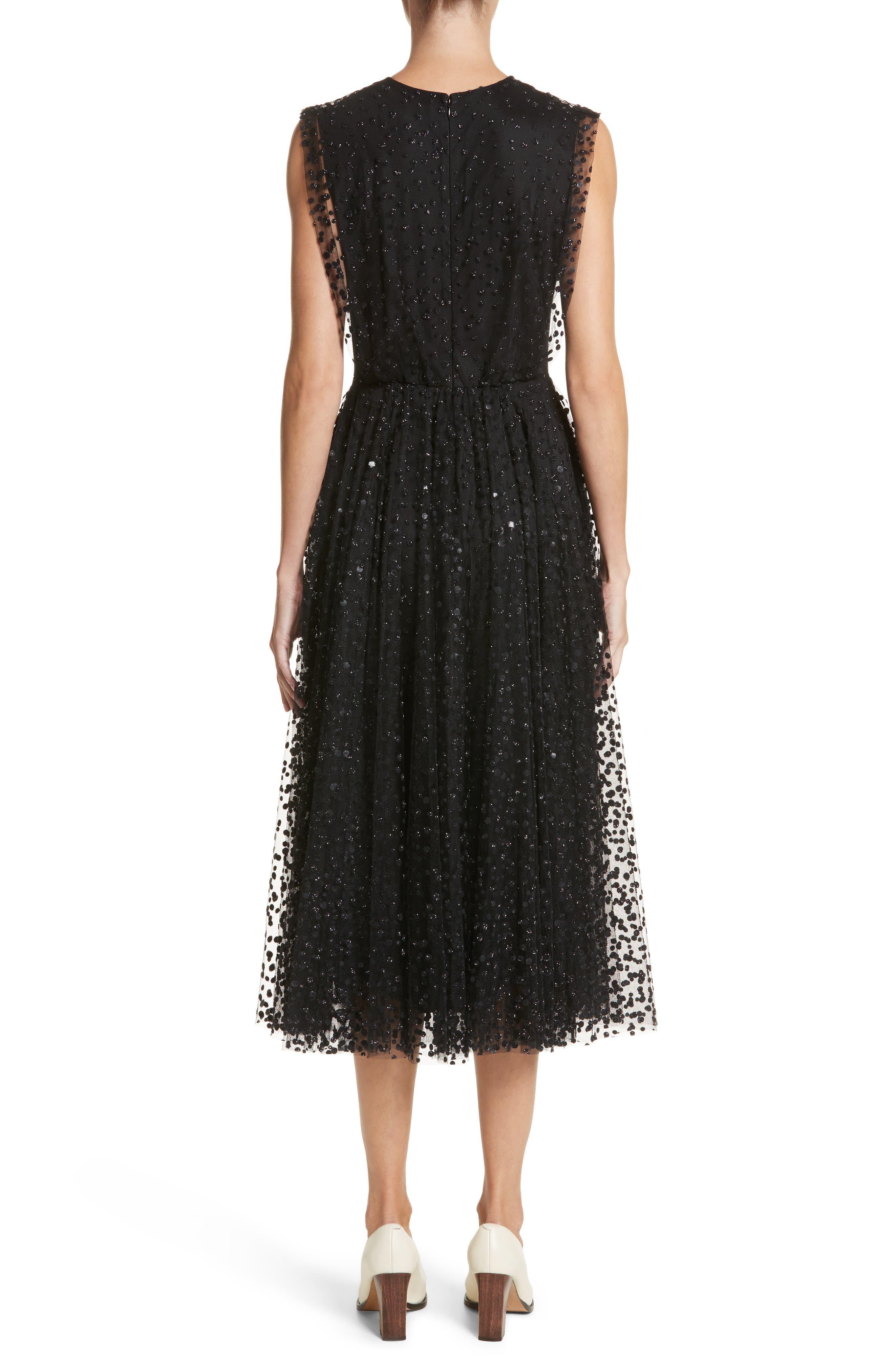 Sparkle Dot Tulle Midi Dress,                             Alternate thumbnail 2, color,                             Black