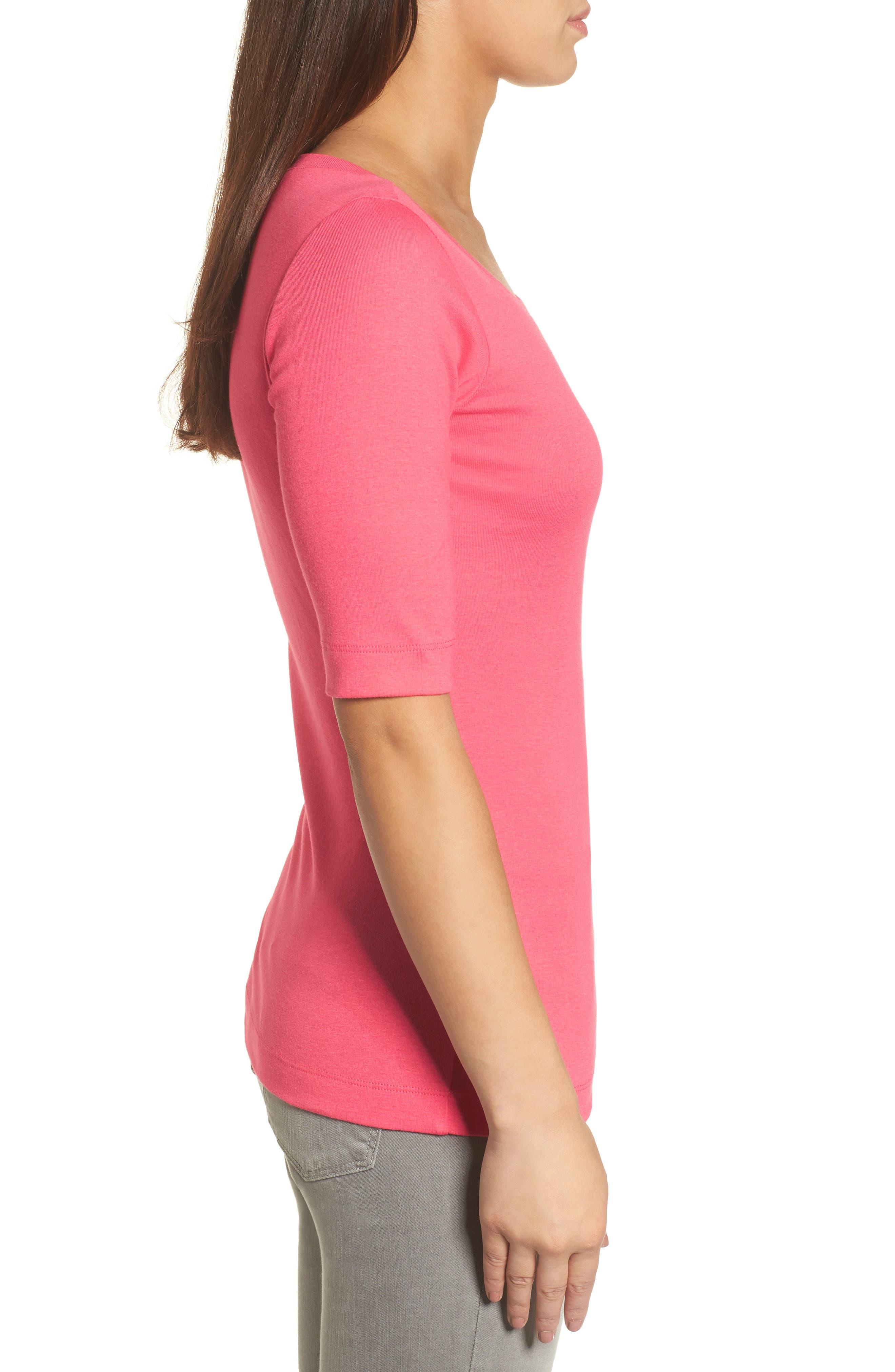 Ballet Neck Cotton & Modal Knit Elbow Sleeve Tee,                             Alternate thumbnail 3, color,                             Pink Ribbon