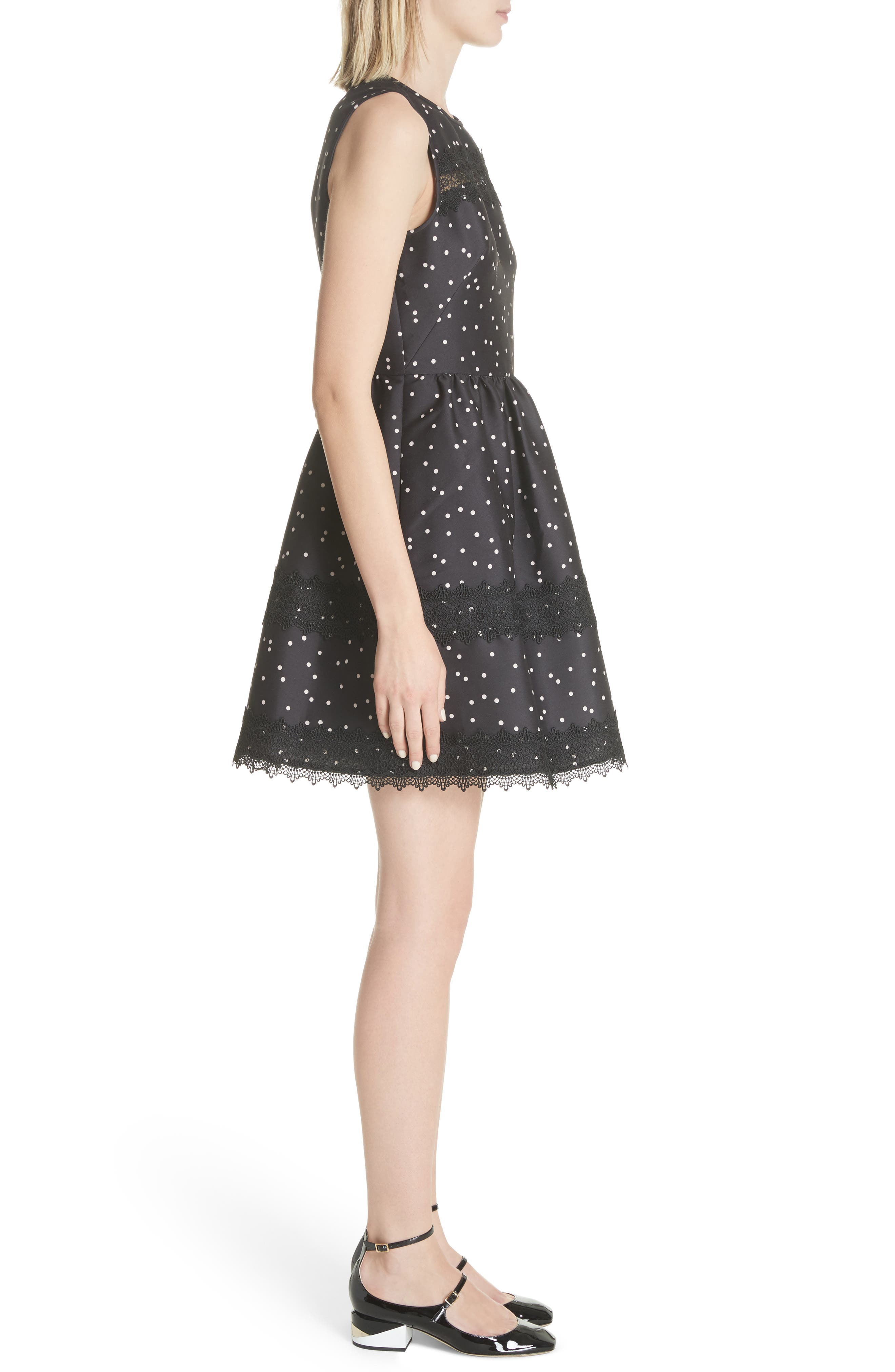 scatter dot mikado fit & flare dress,                             Alternate thumbnail 3, color,                             Black Multi