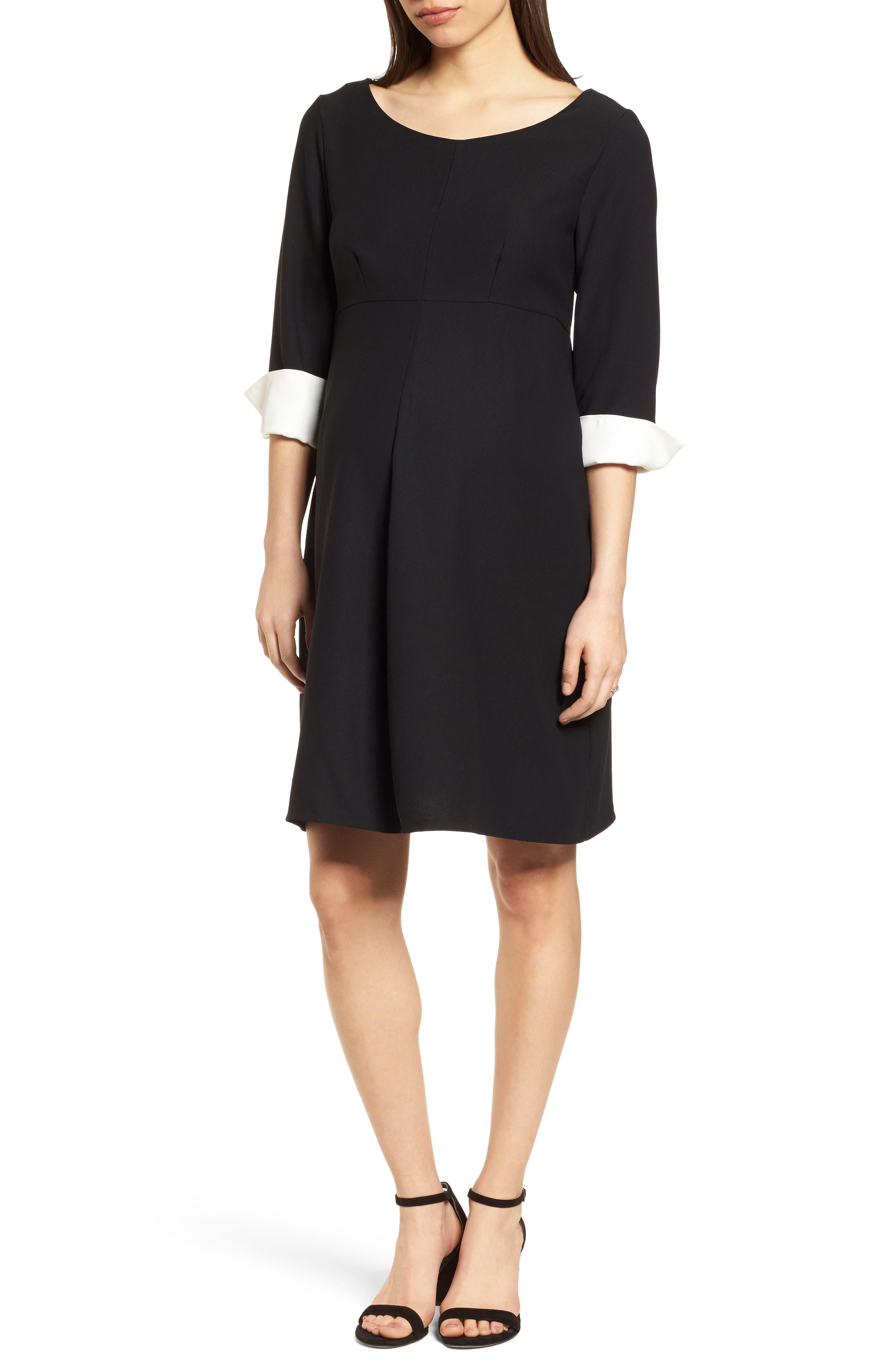 Rosa Maternity Dress,                         Main,                         color, Caviar Black